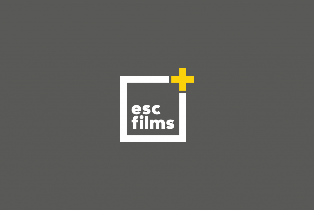 grey screen with esc films in a box with yellow plus sign in top right corner