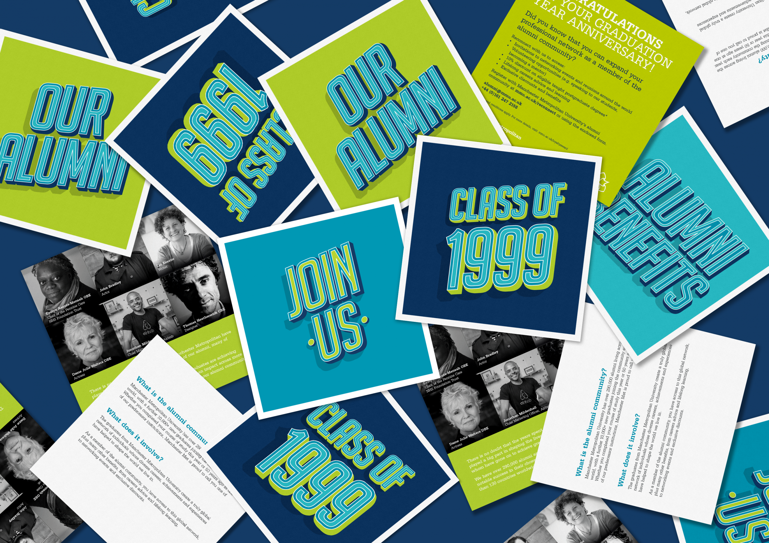 Lots of square, green, blue and navy leaflets scattered on surface, with 'Class of 199' and 'Our Alumni' text