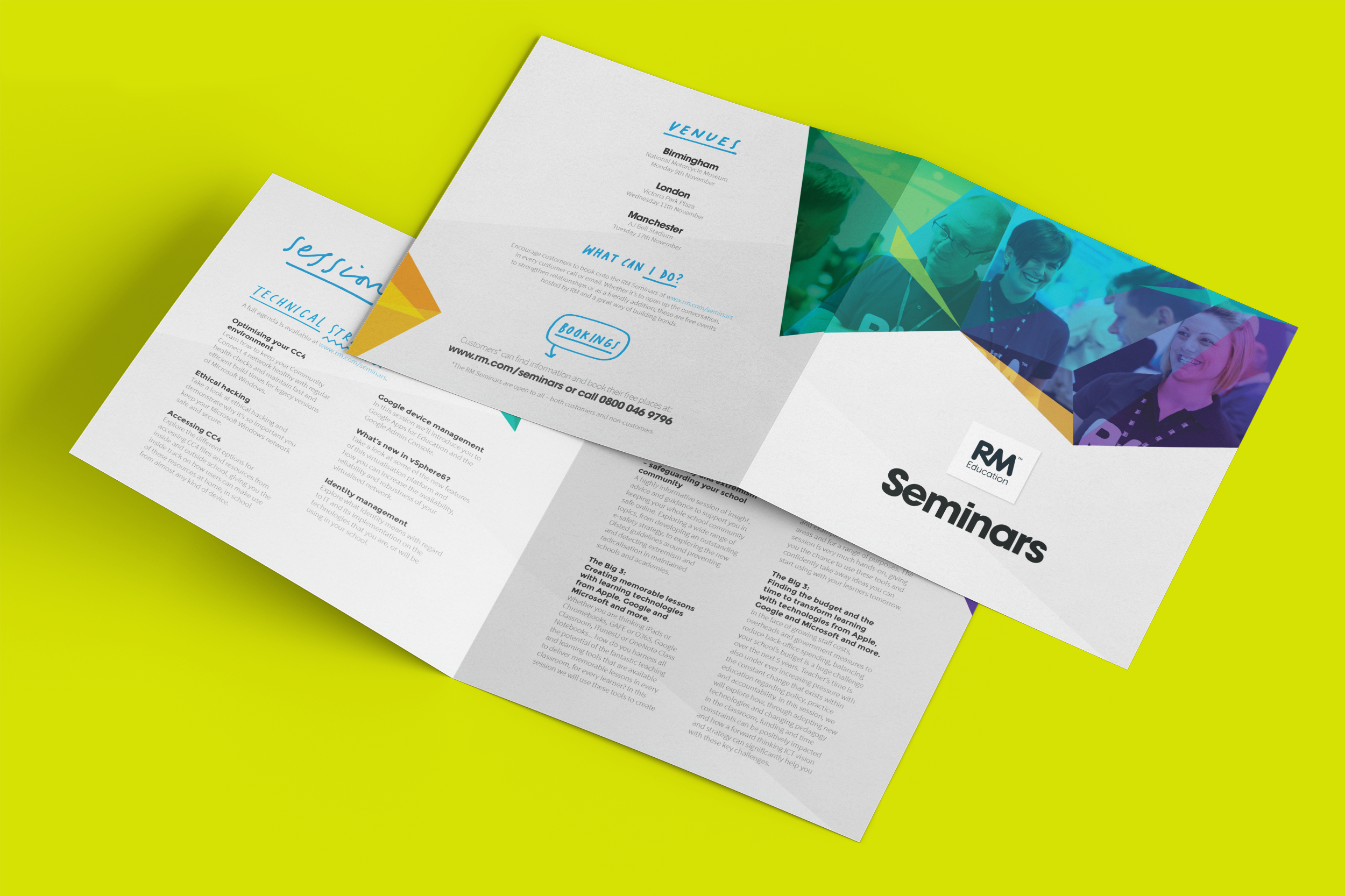 Unfolded square four page information leaflet with RM Seminars on front and colourful graphic with collage of people