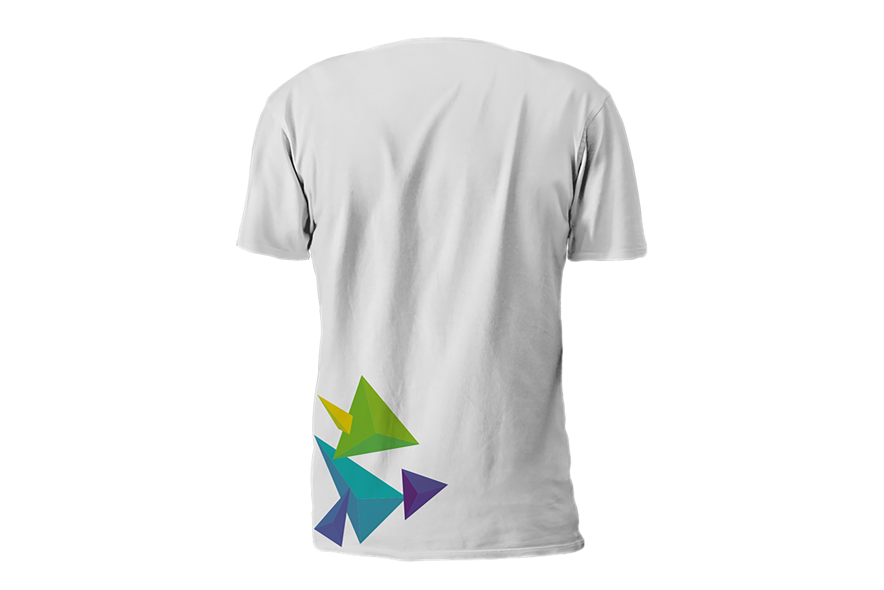 white tshirt back view with colourful graphics of 3d like triangles