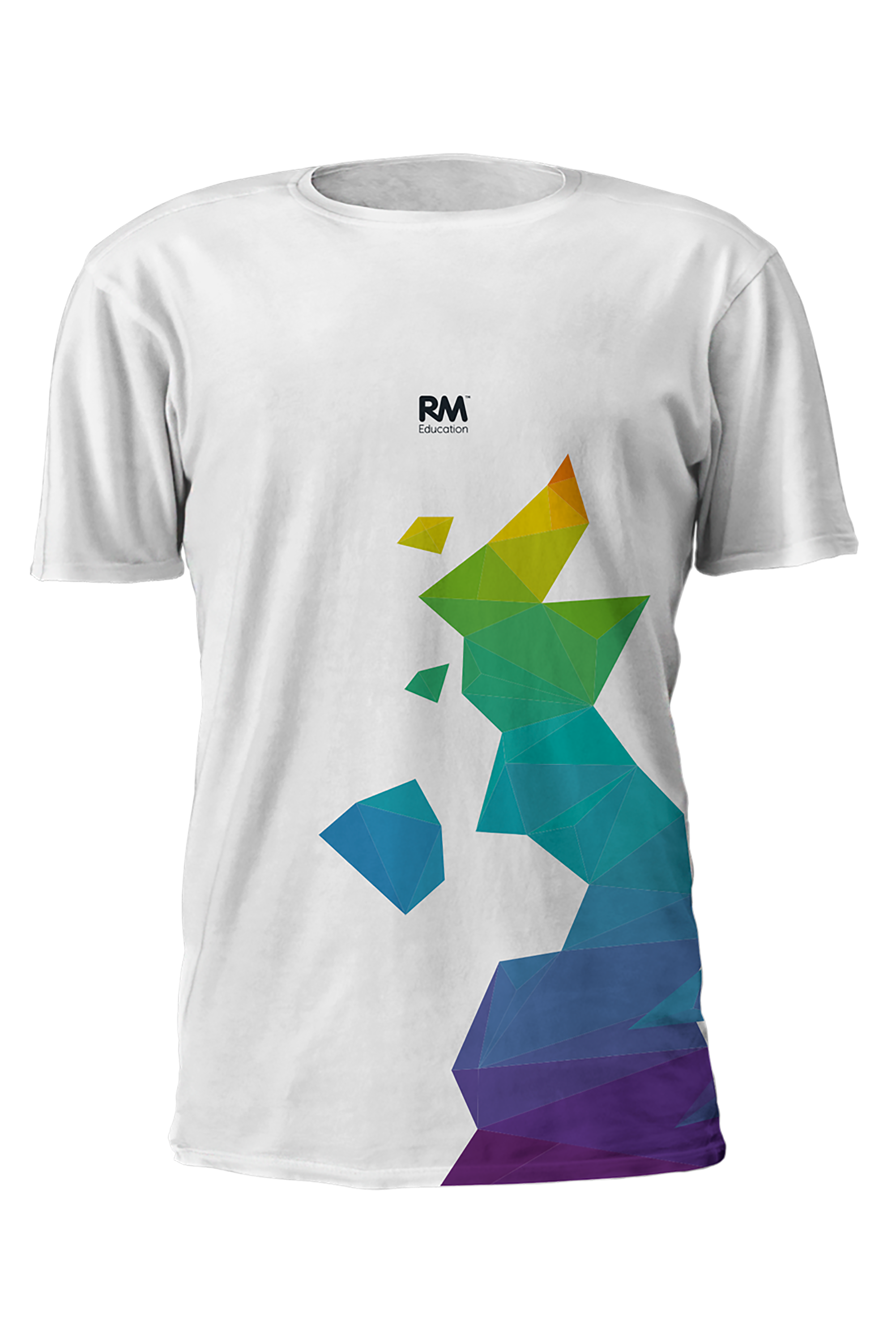 white tshirt front view with colourful graphic of map of UK and RM Education logo