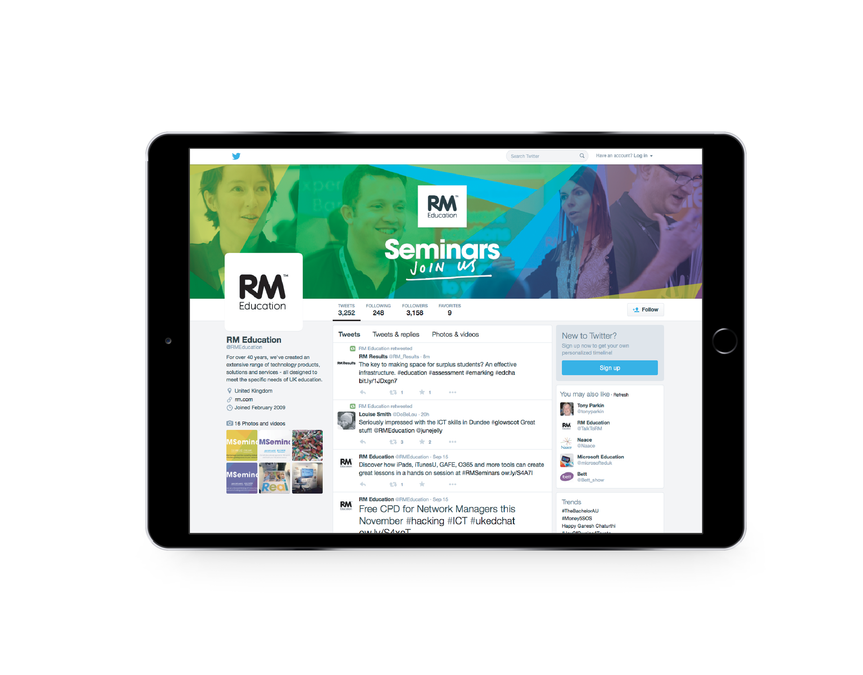 tablet with twitter home page showing RM Seminars banner and words Join Us