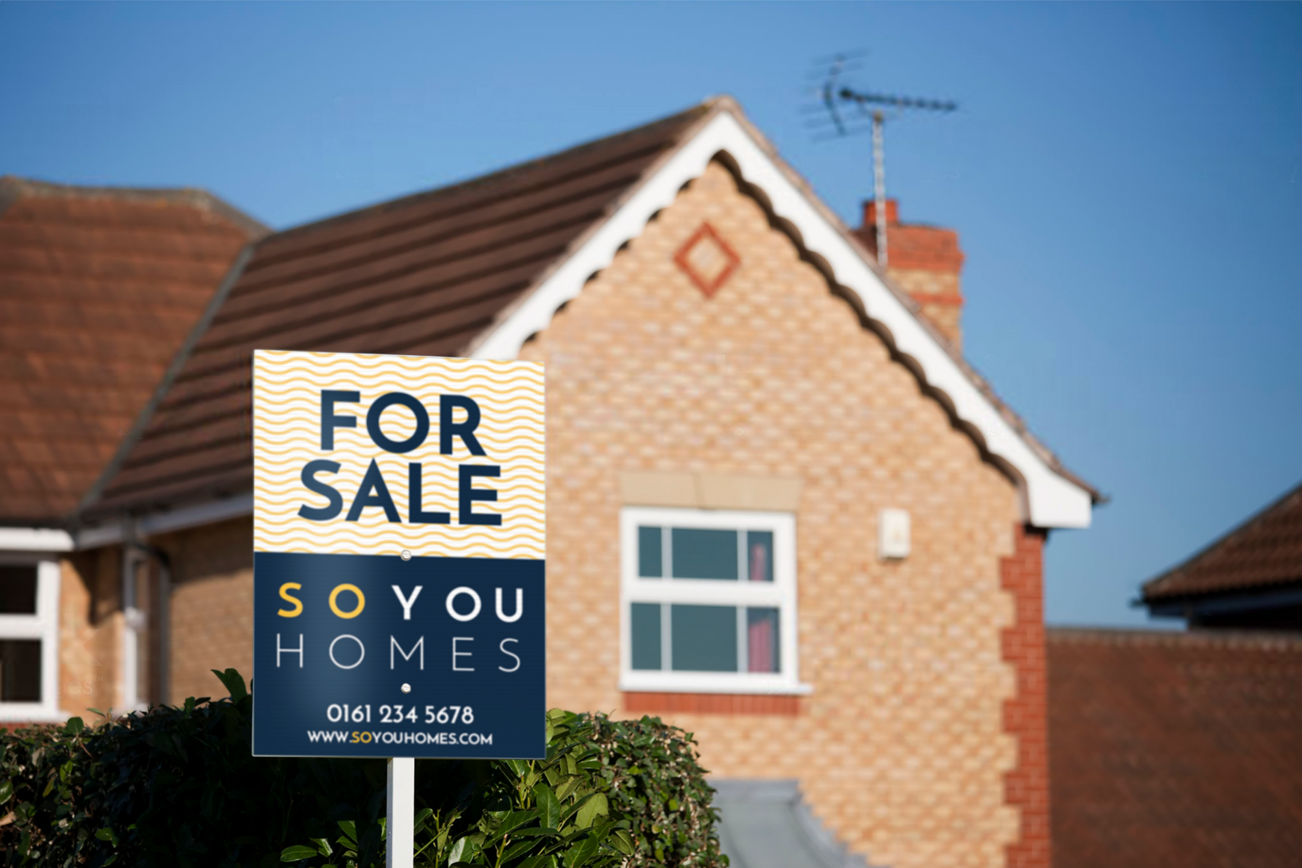 So You Homes For Sale Sign with patterned background, infront of house