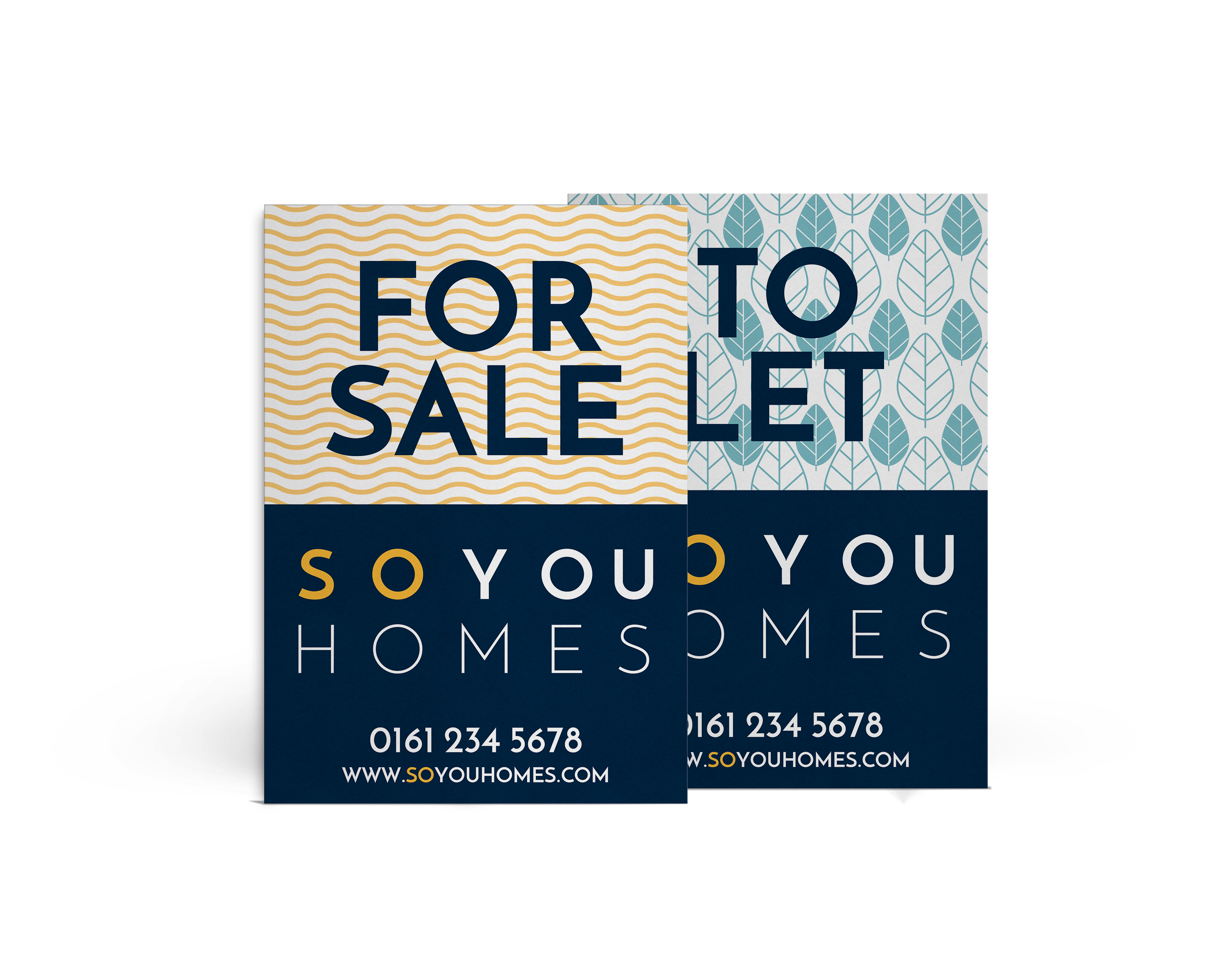 So You Homes To Let and For Sale Signs with patterned backgrounds