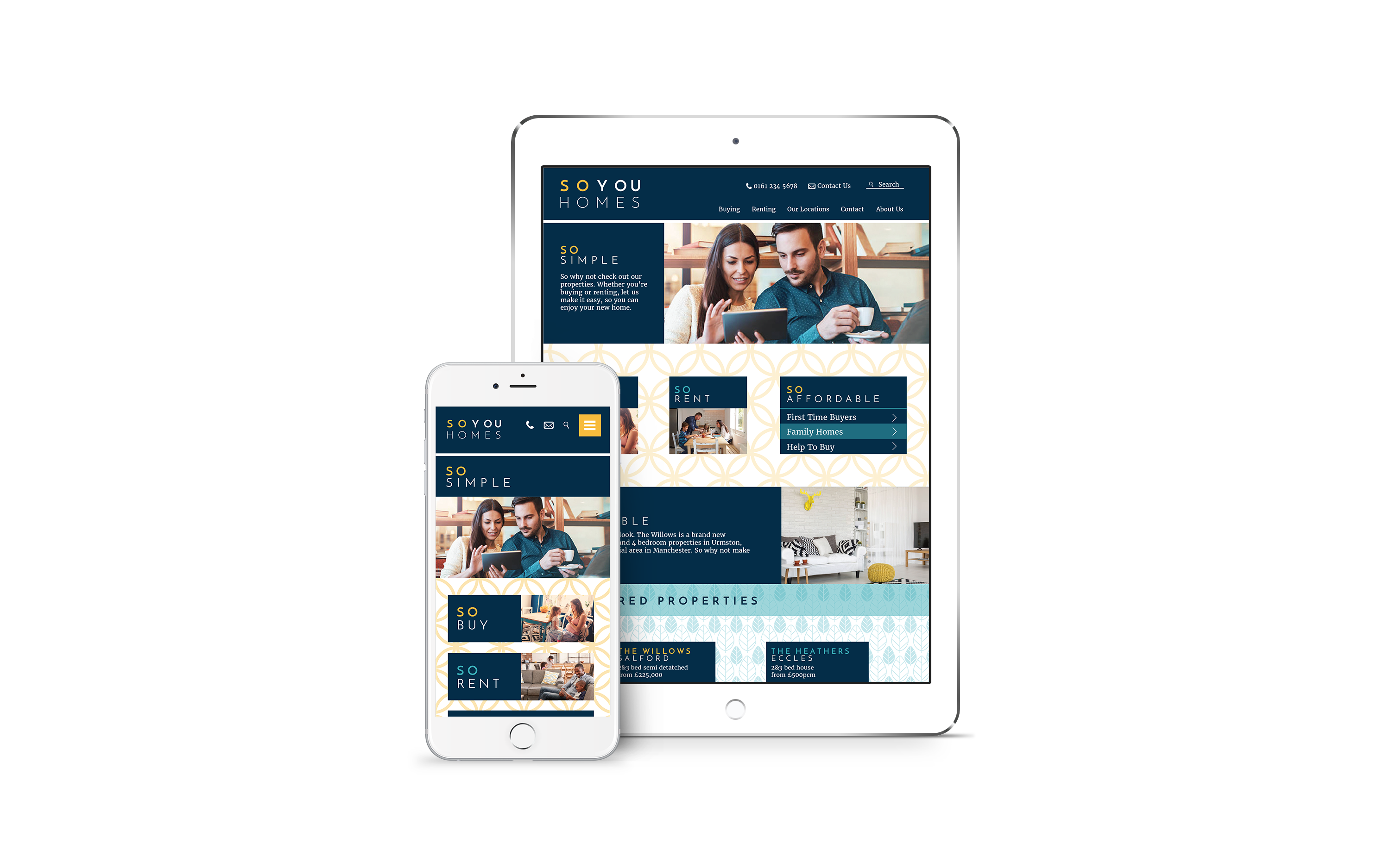 So You Homes website homepage shown on tablet and iphone