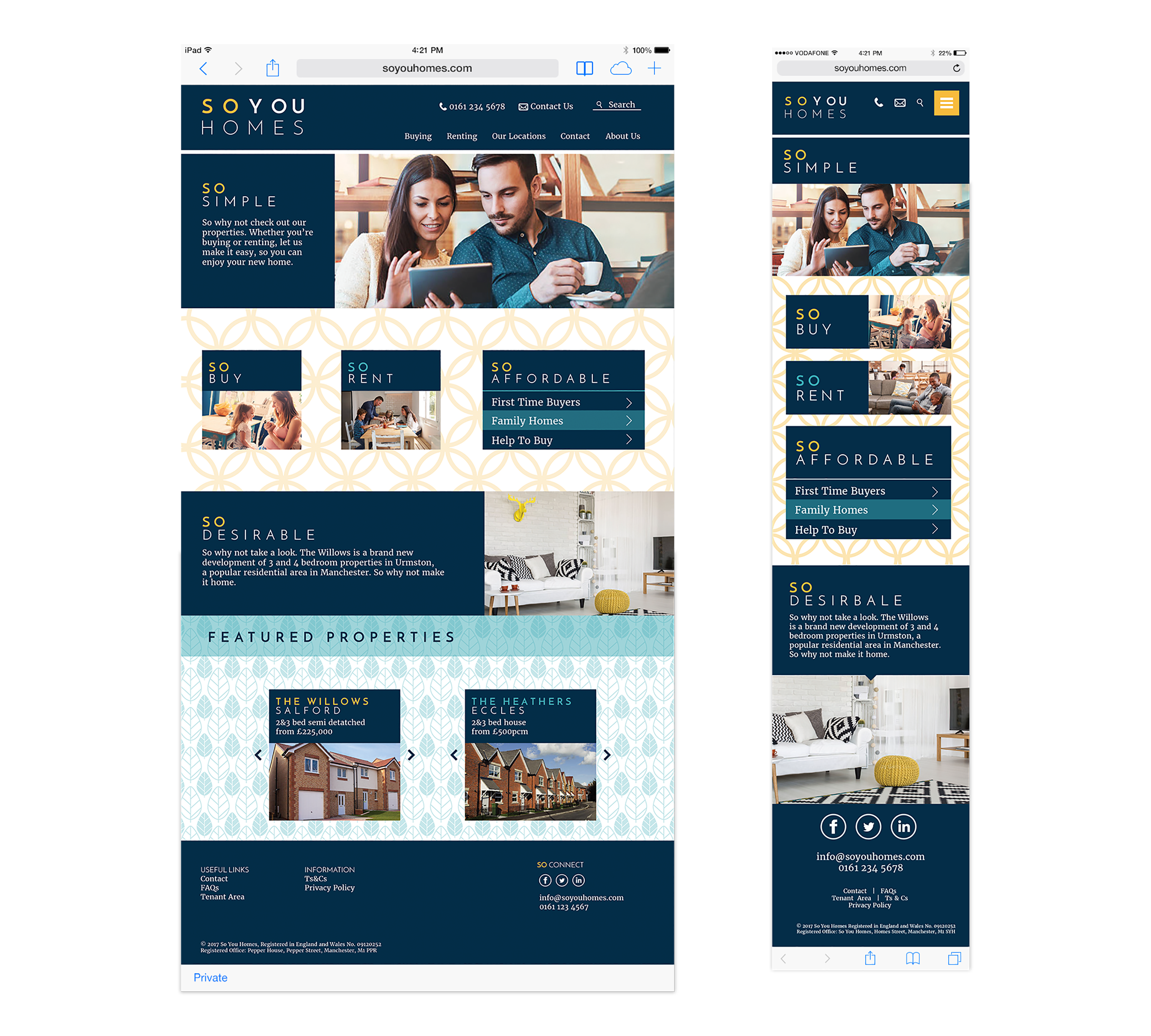So you homes website home page desktop and mobile site
