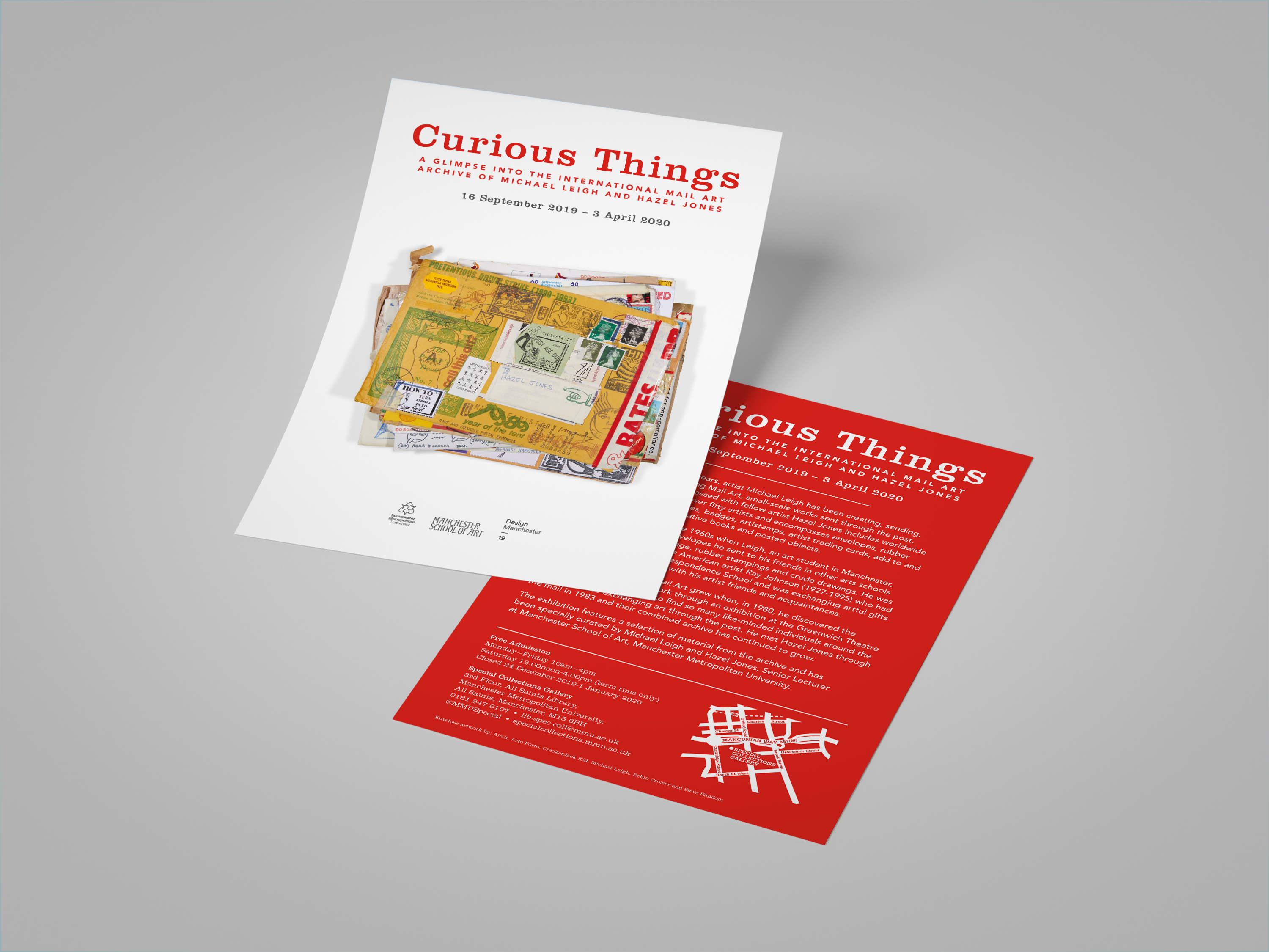 White leaflet and with stack of mail art envelopes and words advertising Curious Things exhibition, and red reverse of leflet with text