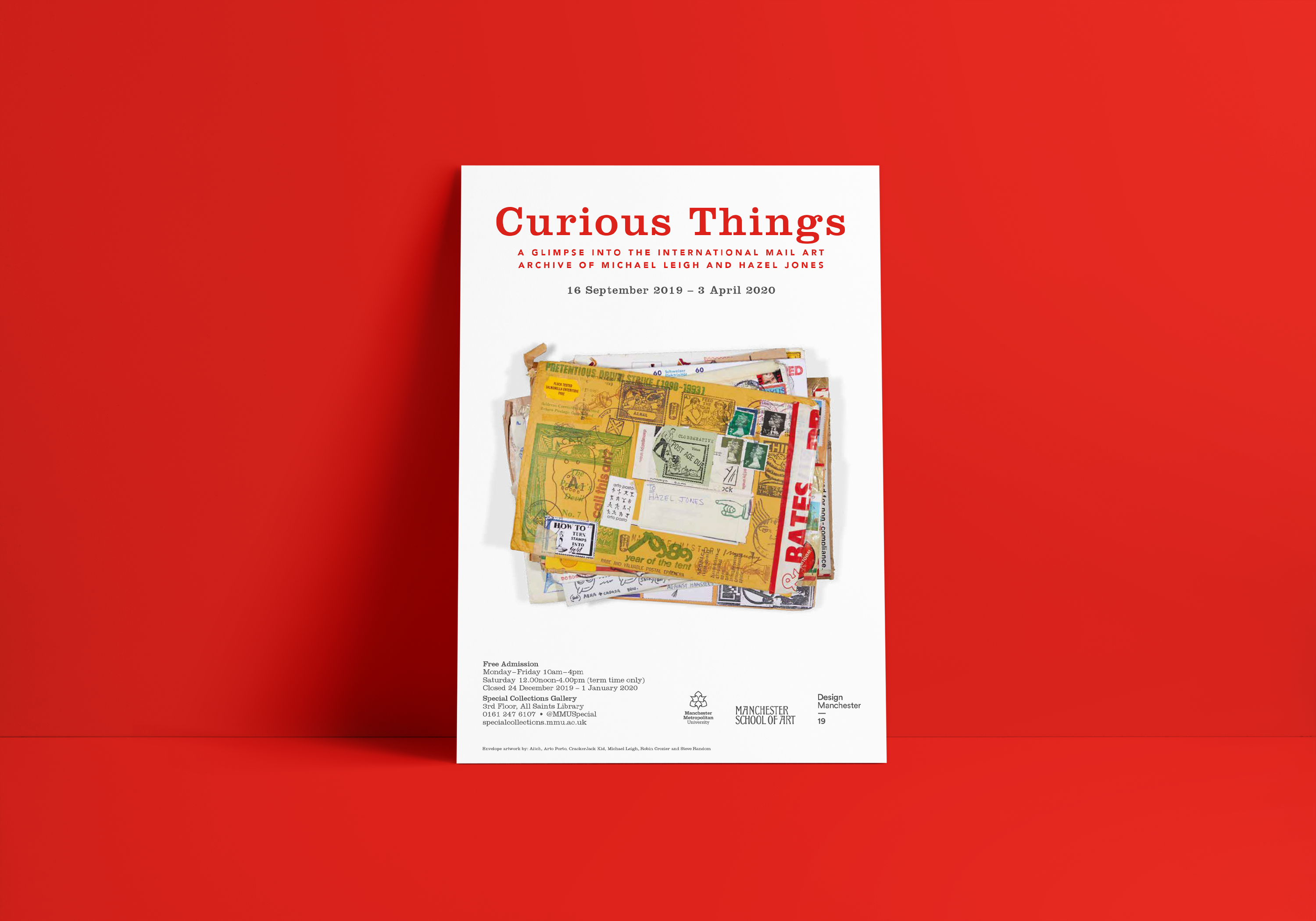 White poster with stack of mail art envelopes and words advertising Curious Things exhibition on red background