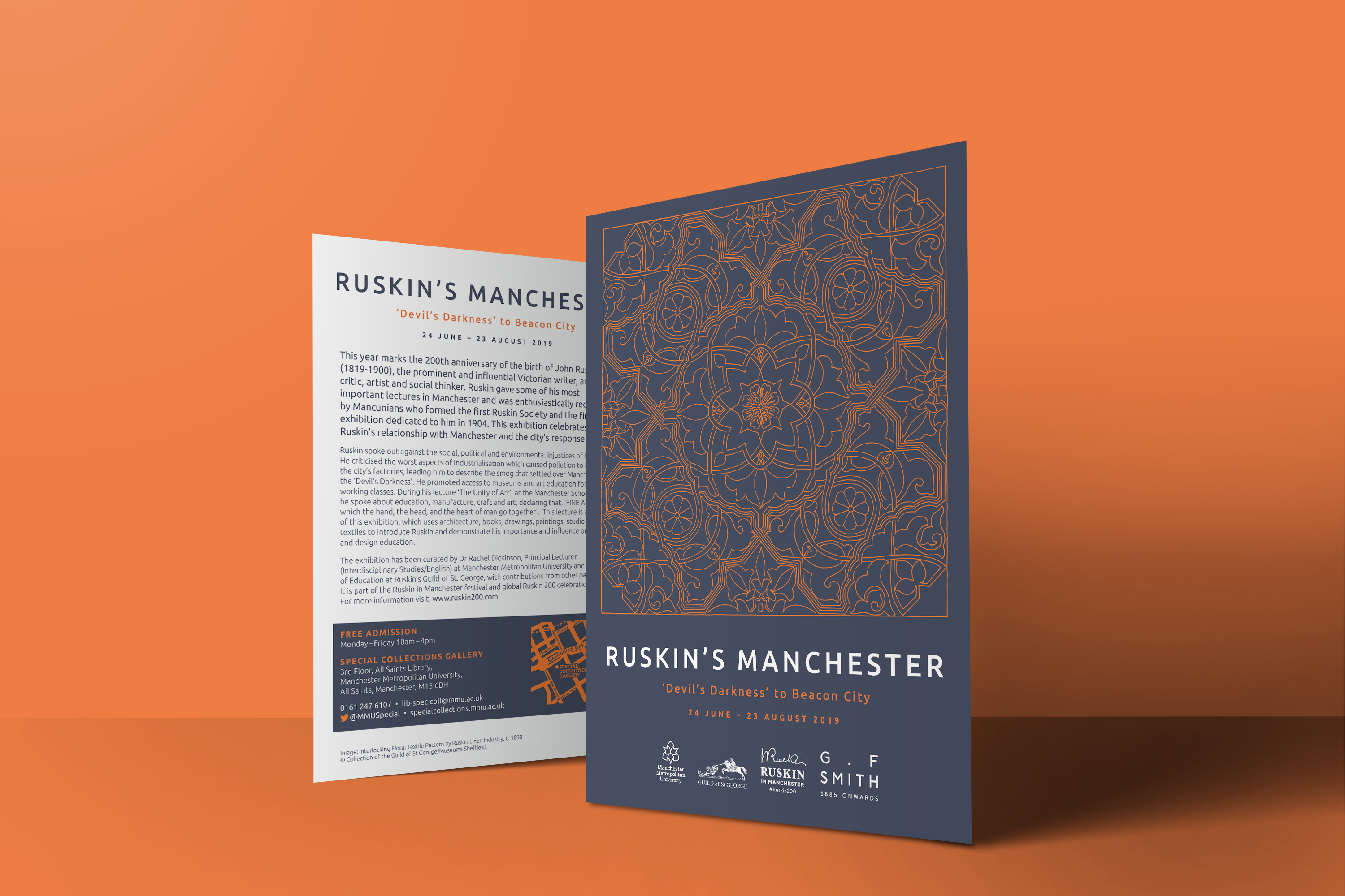 front and back of navy leaflet with orange pattern, advertising Ruskin's Manchester exhibtion