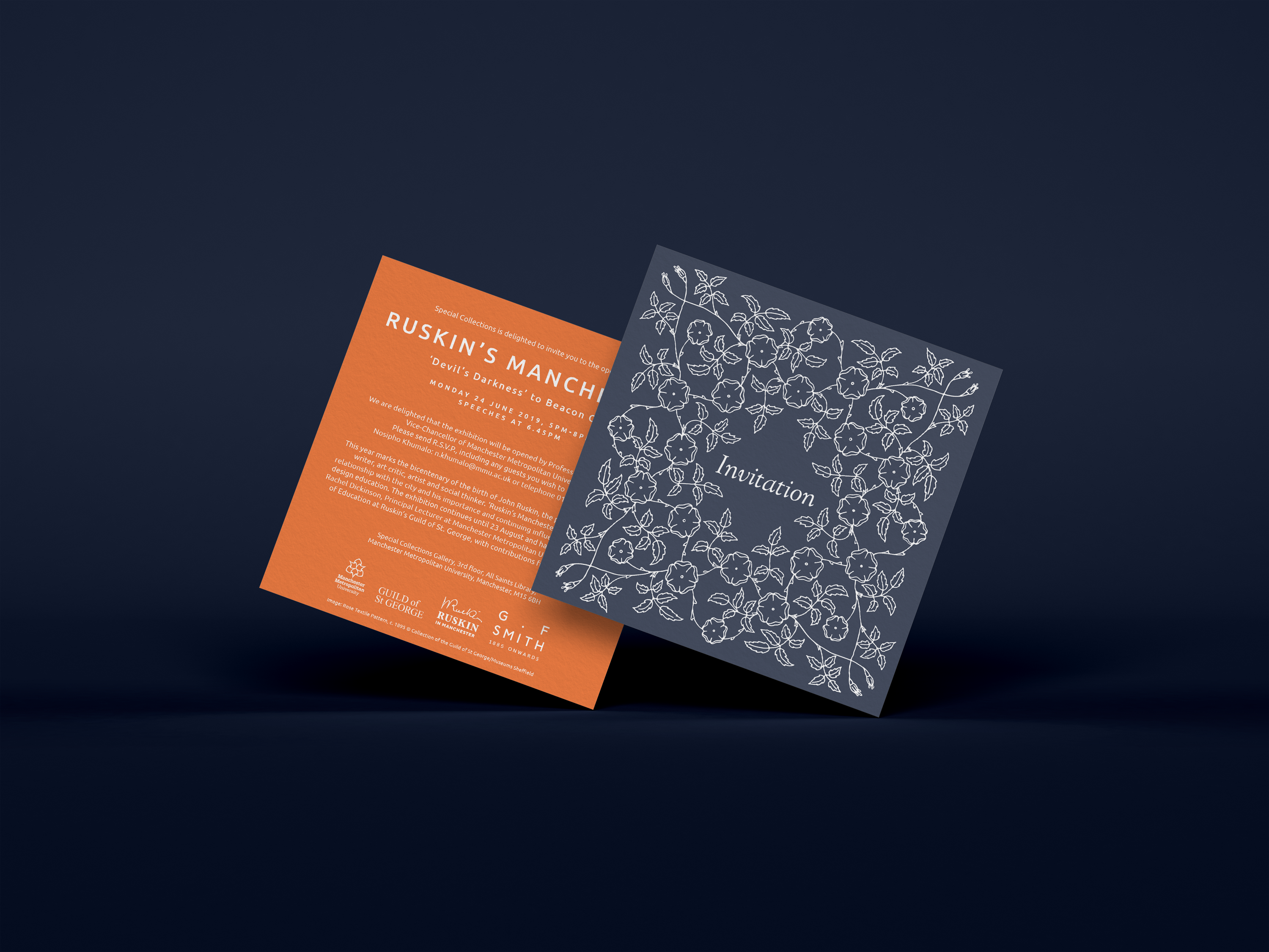 square invites, one side dark blue with floral pattern and word 'invitation' and the reverse orange with text about Ruskins Manchester exhibition