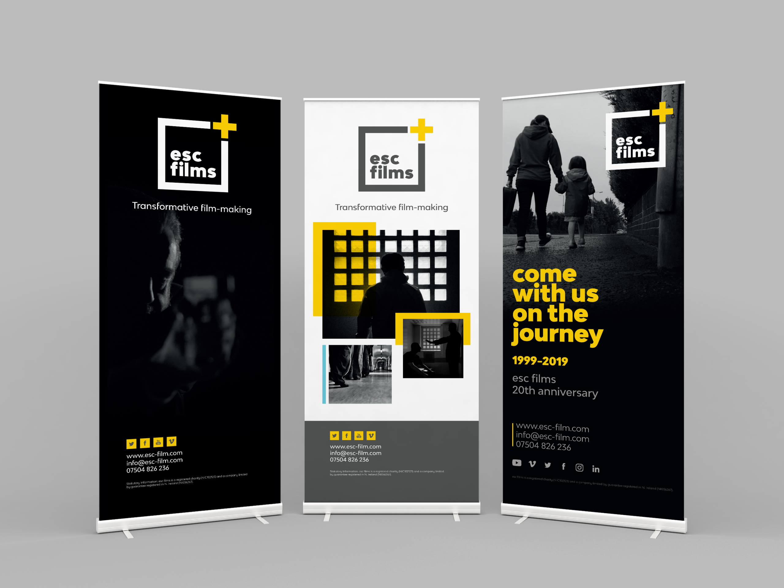 Three roll up banners, advertising events for esc films