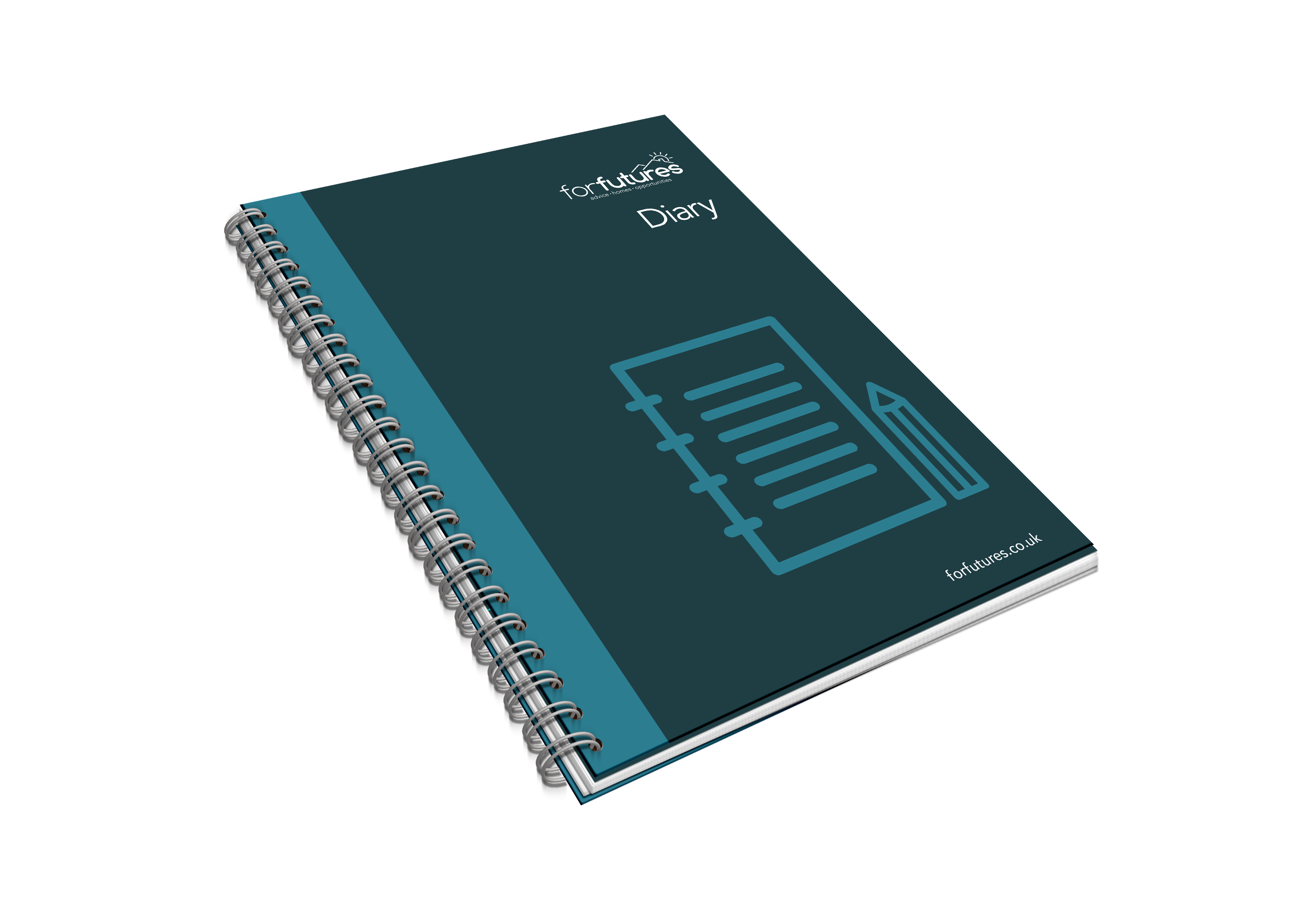 dark green blue closed spiral bound diary with icon of a lined page and pencil and the forfutures logo on it