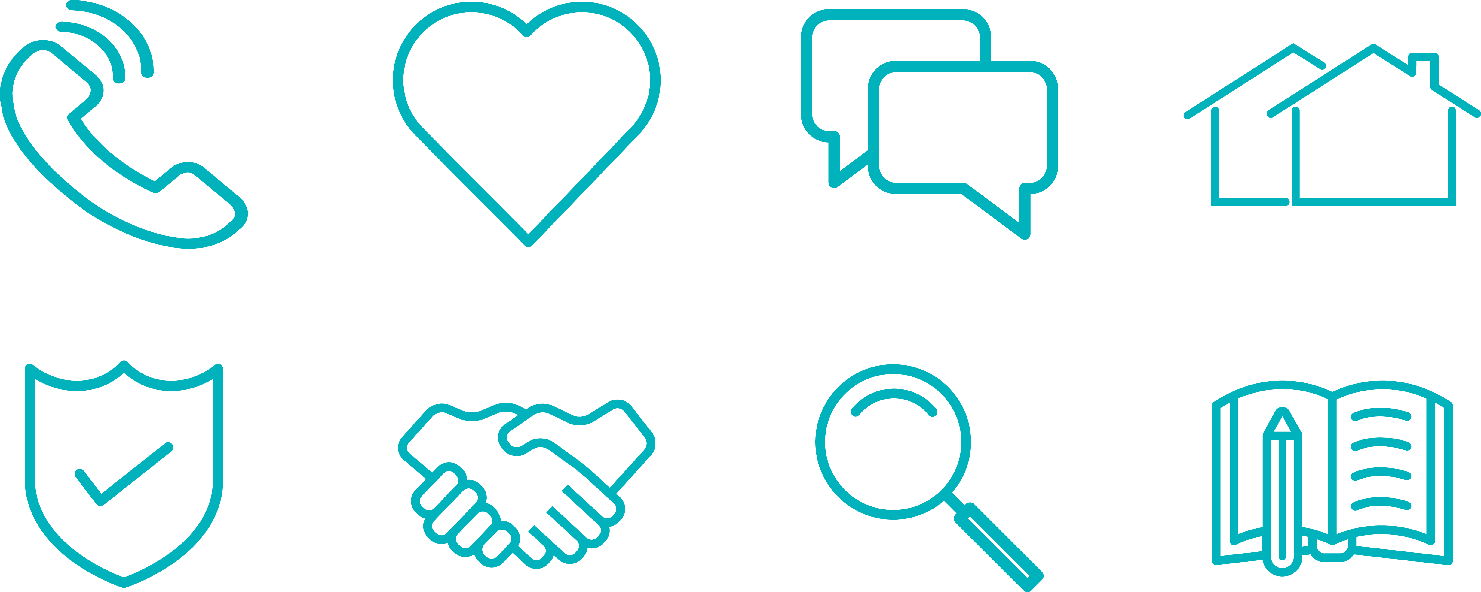 set of eight outlined icons showing a phone, heart, speech bubbles, houses, shield with a tick, shaking hands, magnifying glass and book with pencil