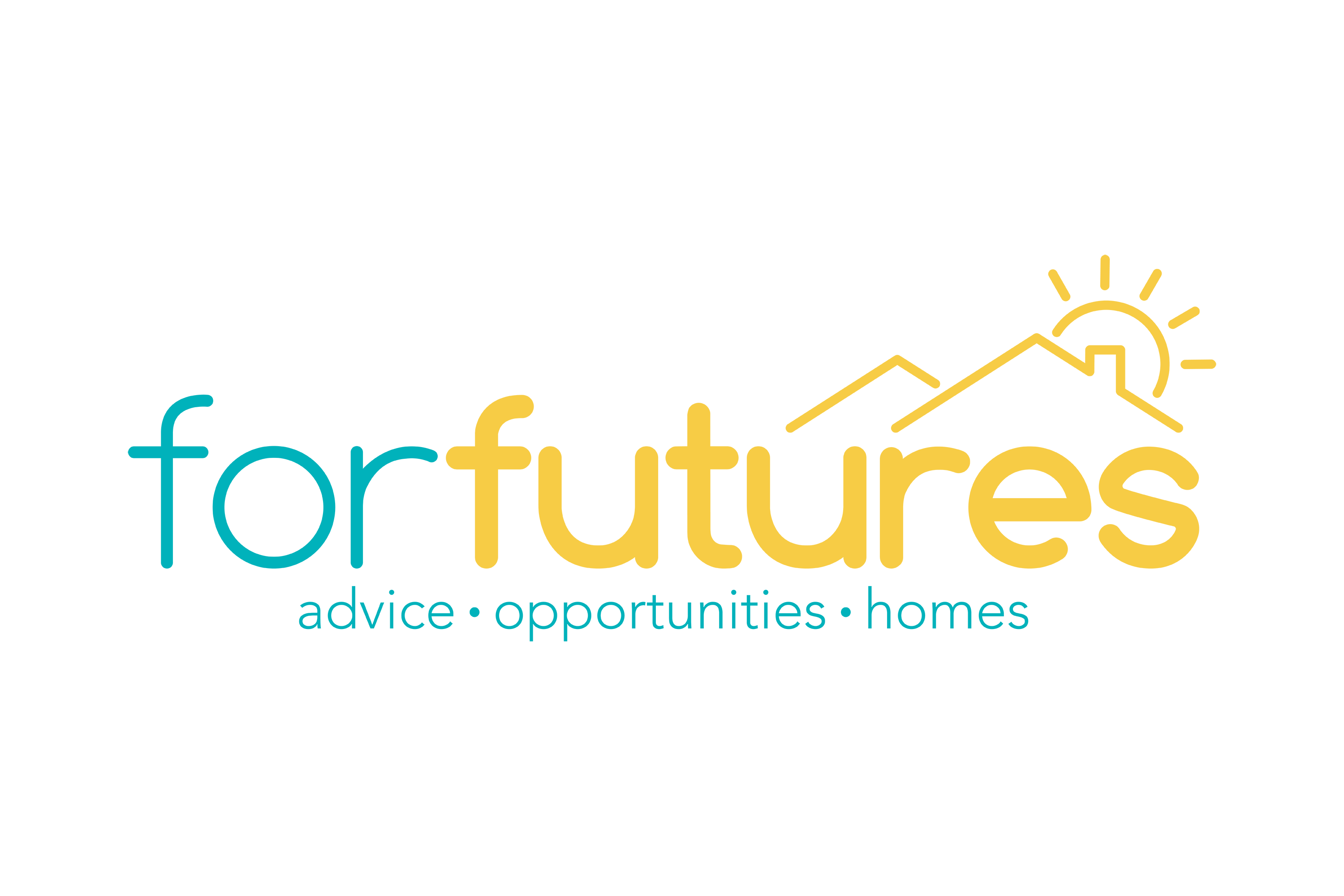 blue and yellow logo for forfutures, showing rofotops with sunrising over and the words 'advice, opportunities, homes'