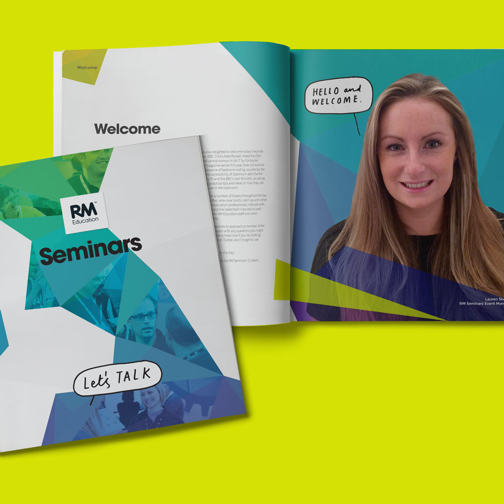 RM Seminars event brightly coloured event brochure