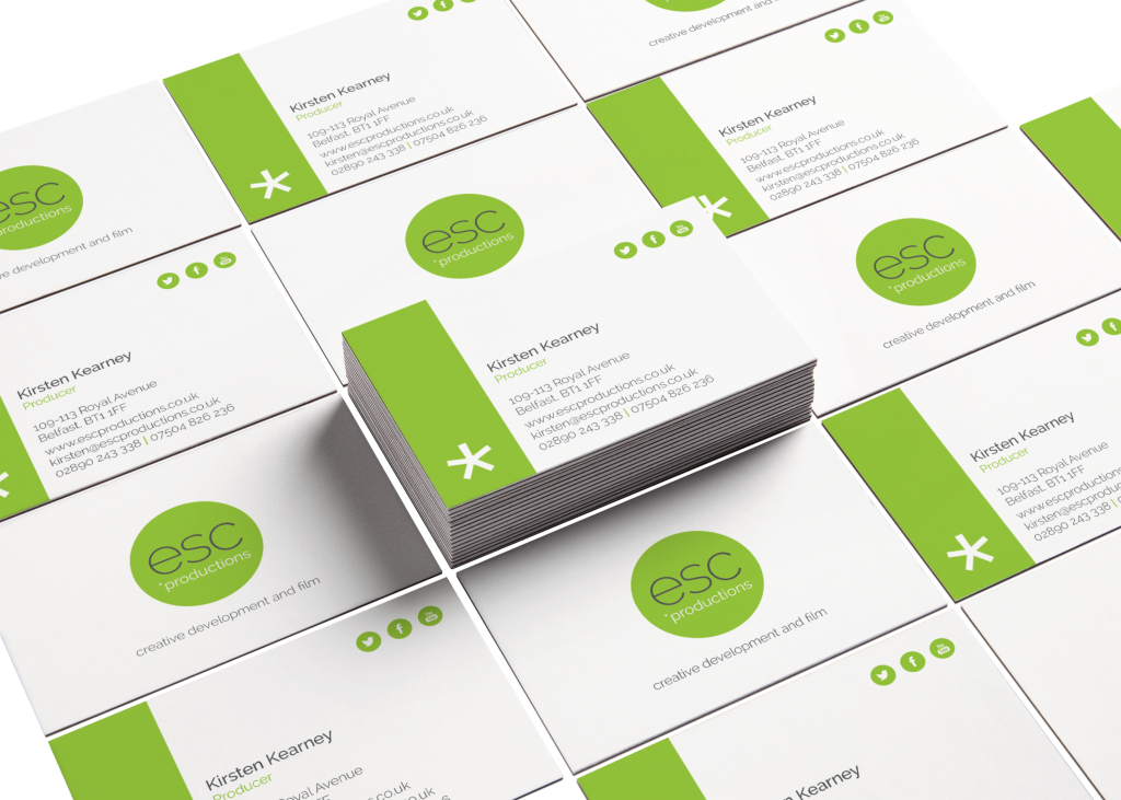 white and green business cards with esc productions logo and details