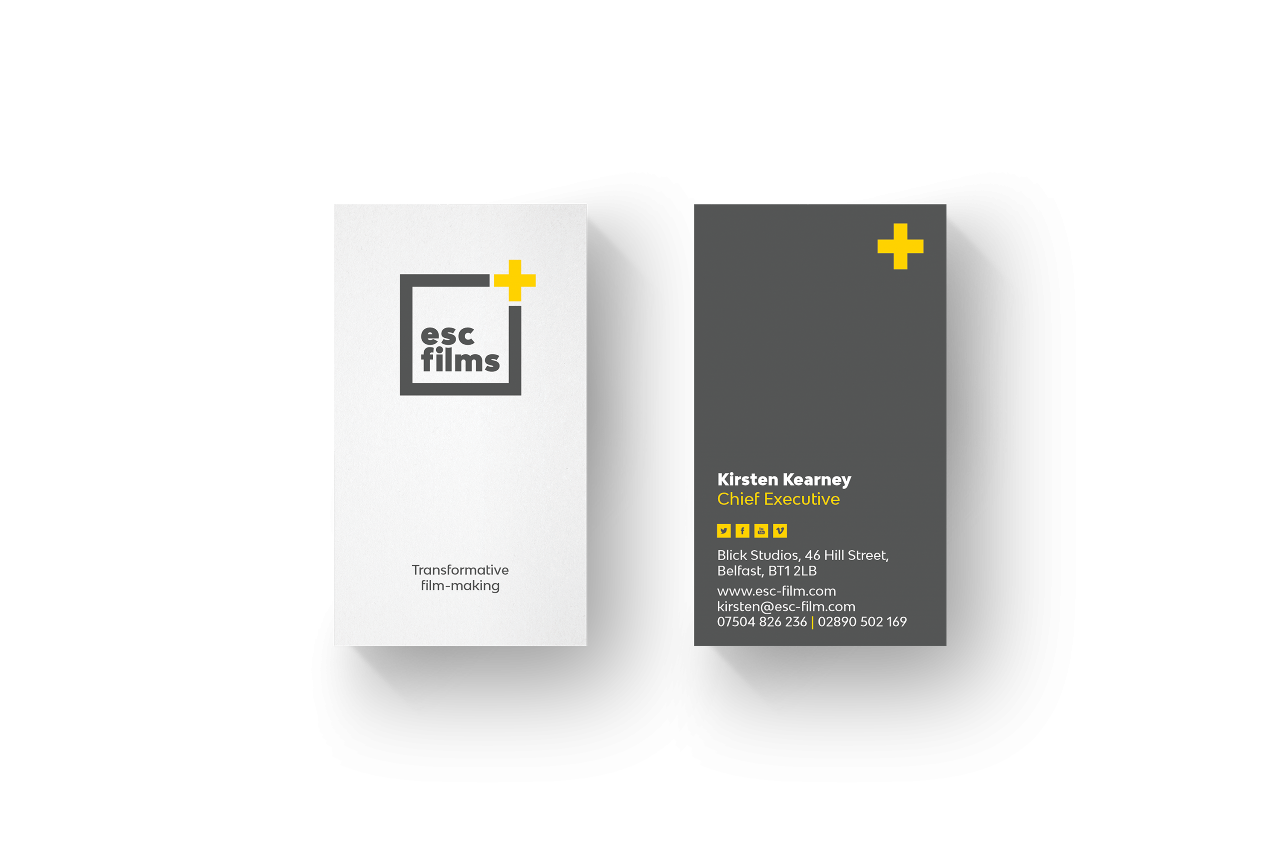 one white one grey business card with esc films logo and details