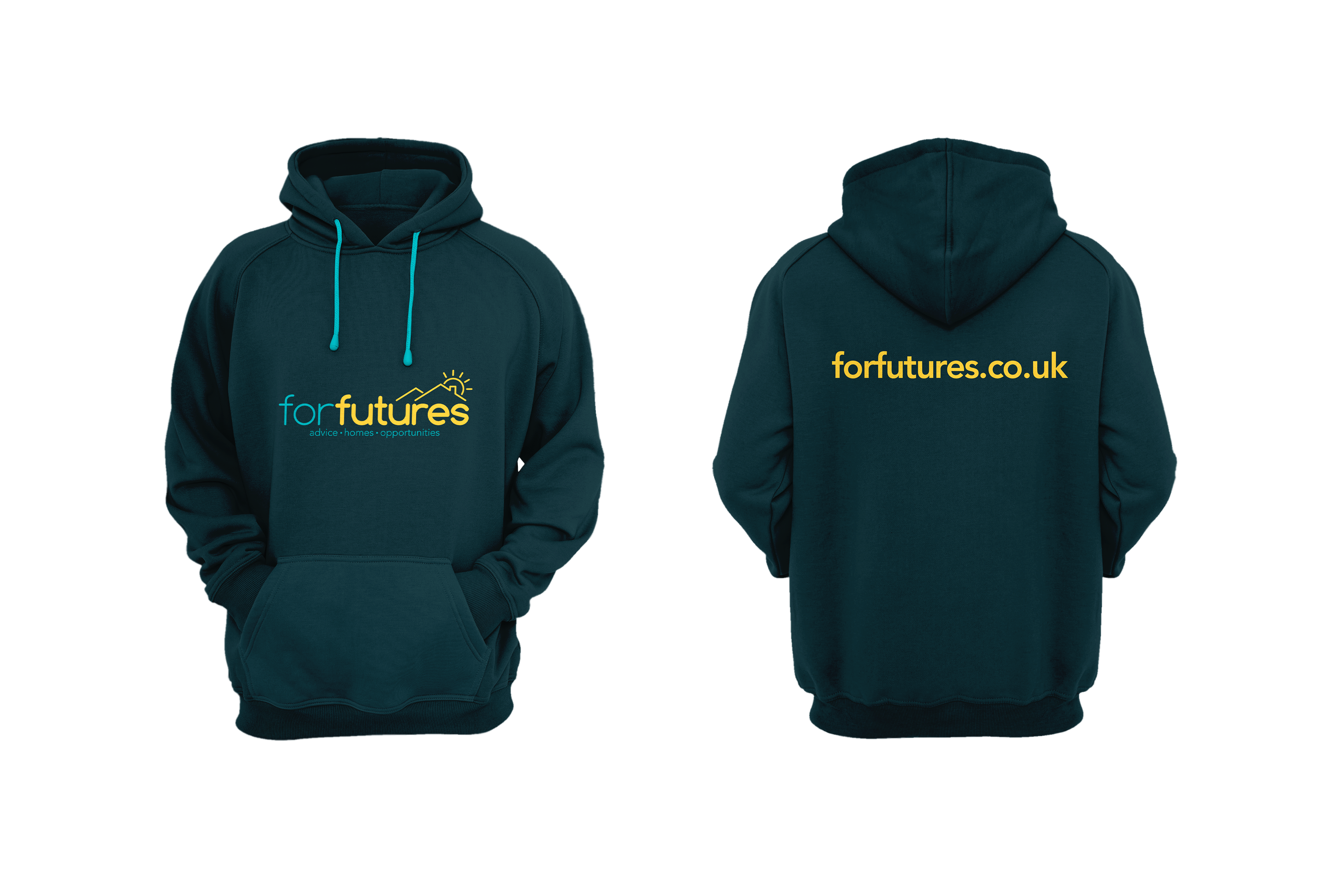 front and back of dark blue green hoody with forfutures logo on front and the web address forfutures.co.uk on the back