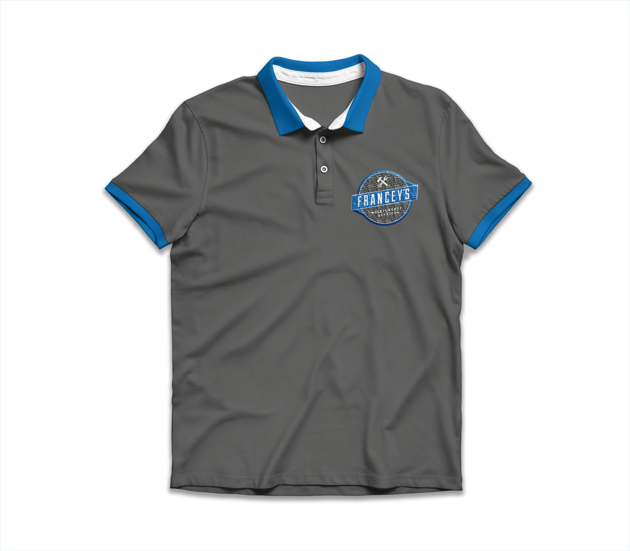 grey polo shirt with blue trim and francey's maintenance logo embroidered on to it