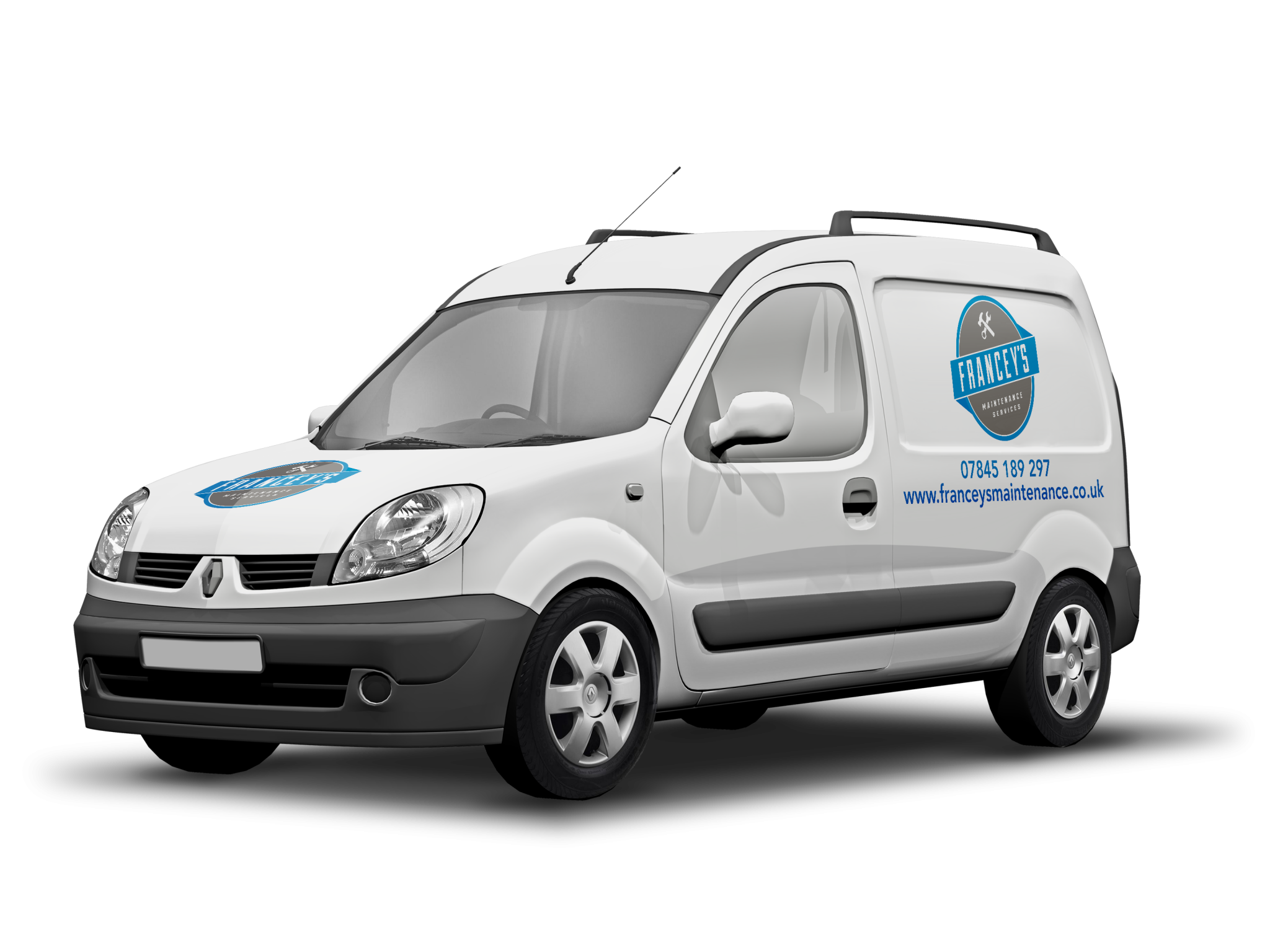 Small white van with logo of Francey's Maintenance on bonnet and side panel