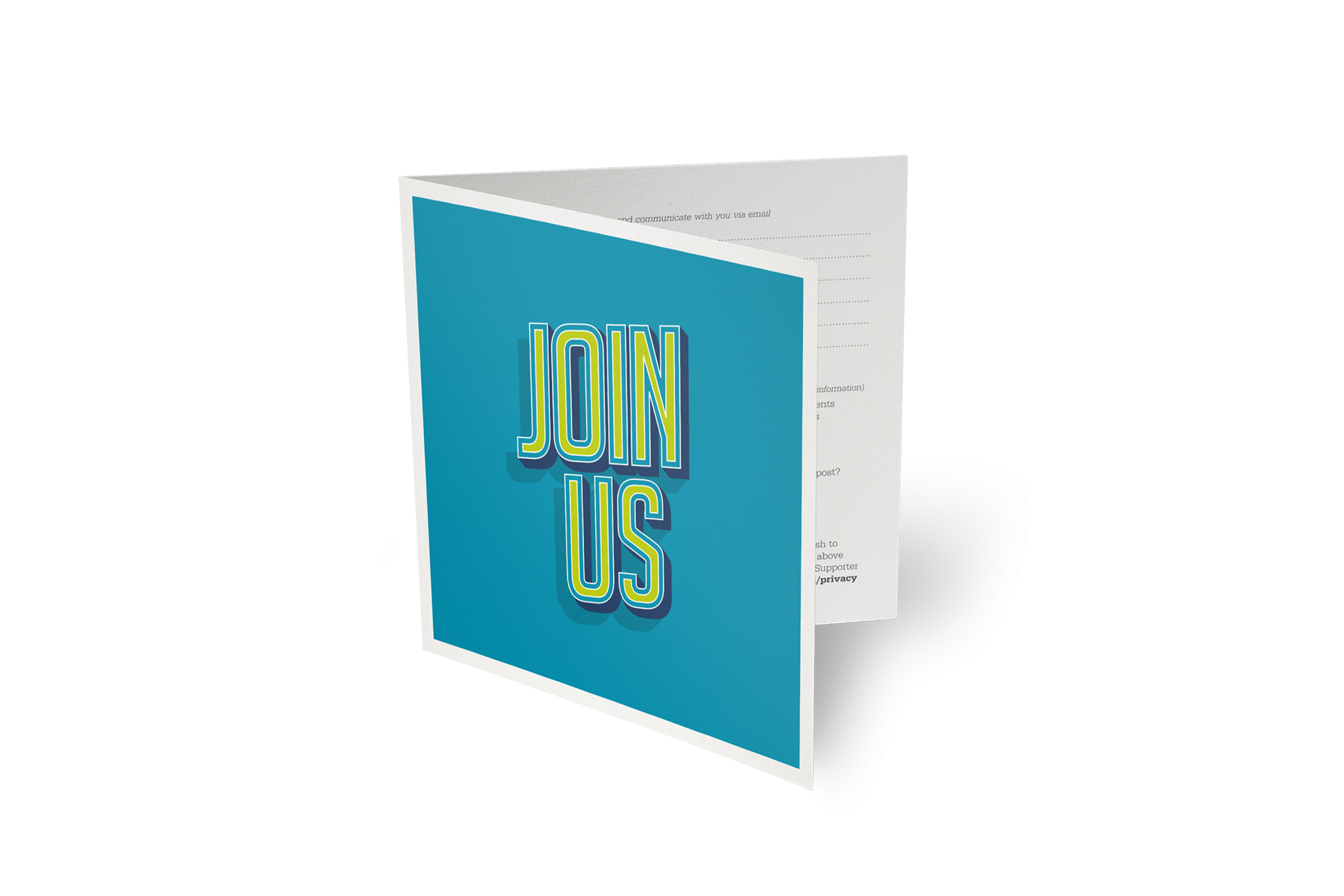 square folded leaflet with 'Join Us' printed on blue background