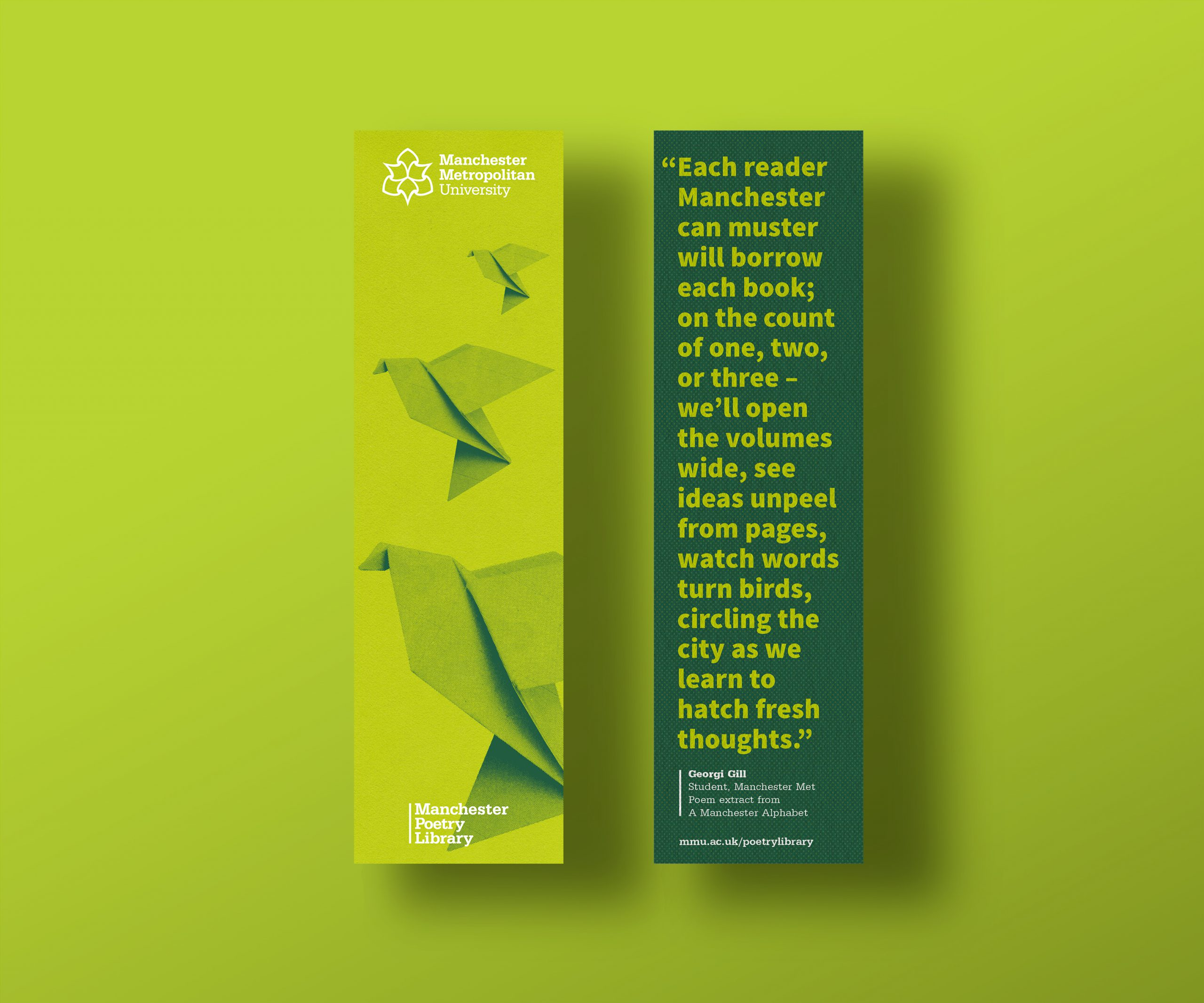 Front and back of green bookmarks on green background with origami birds flying and poetry quote