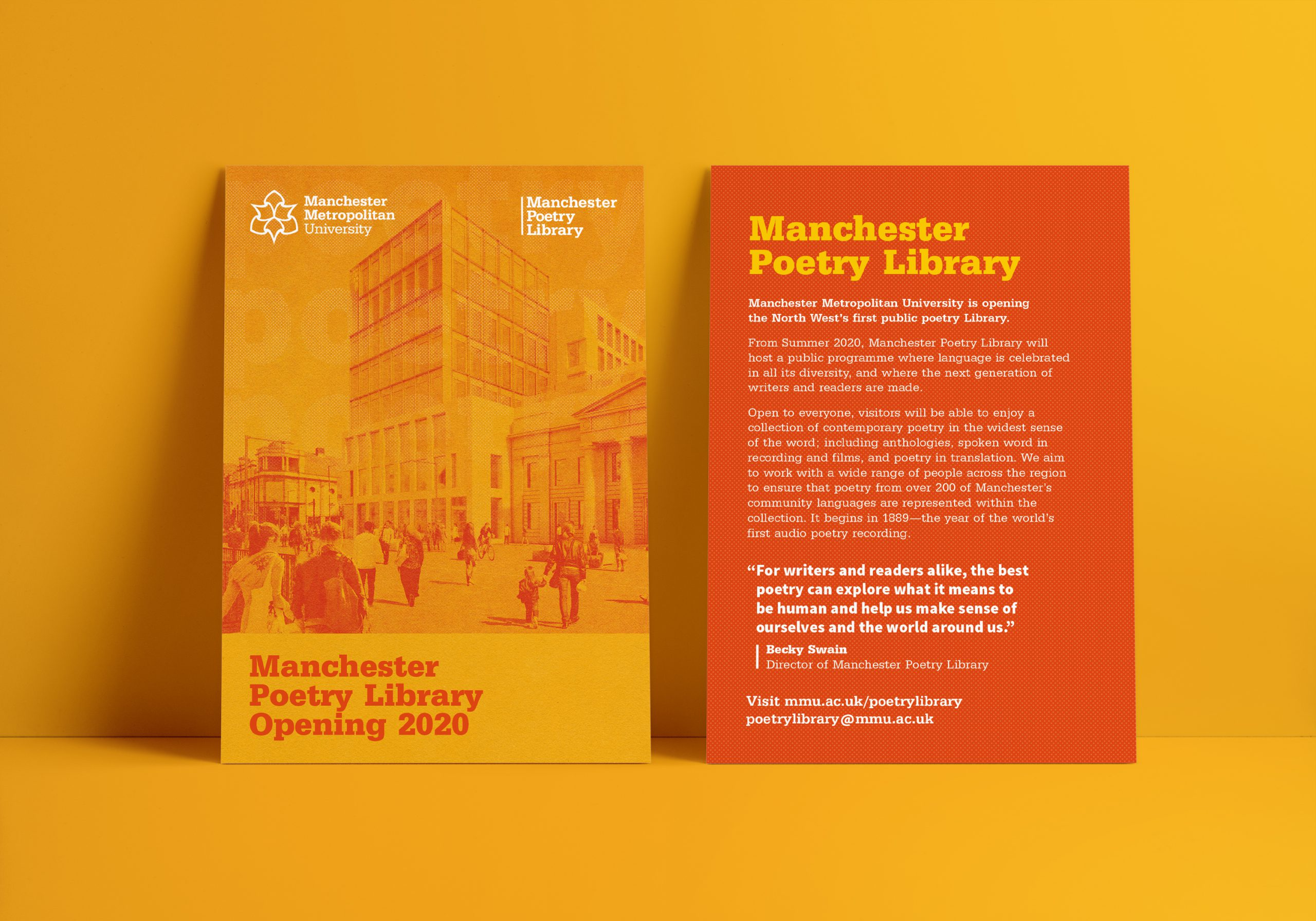 front and back of orange and yellow flyer propped against a yellow wall showing manchester poetry library and a building with crowds of people infront of it