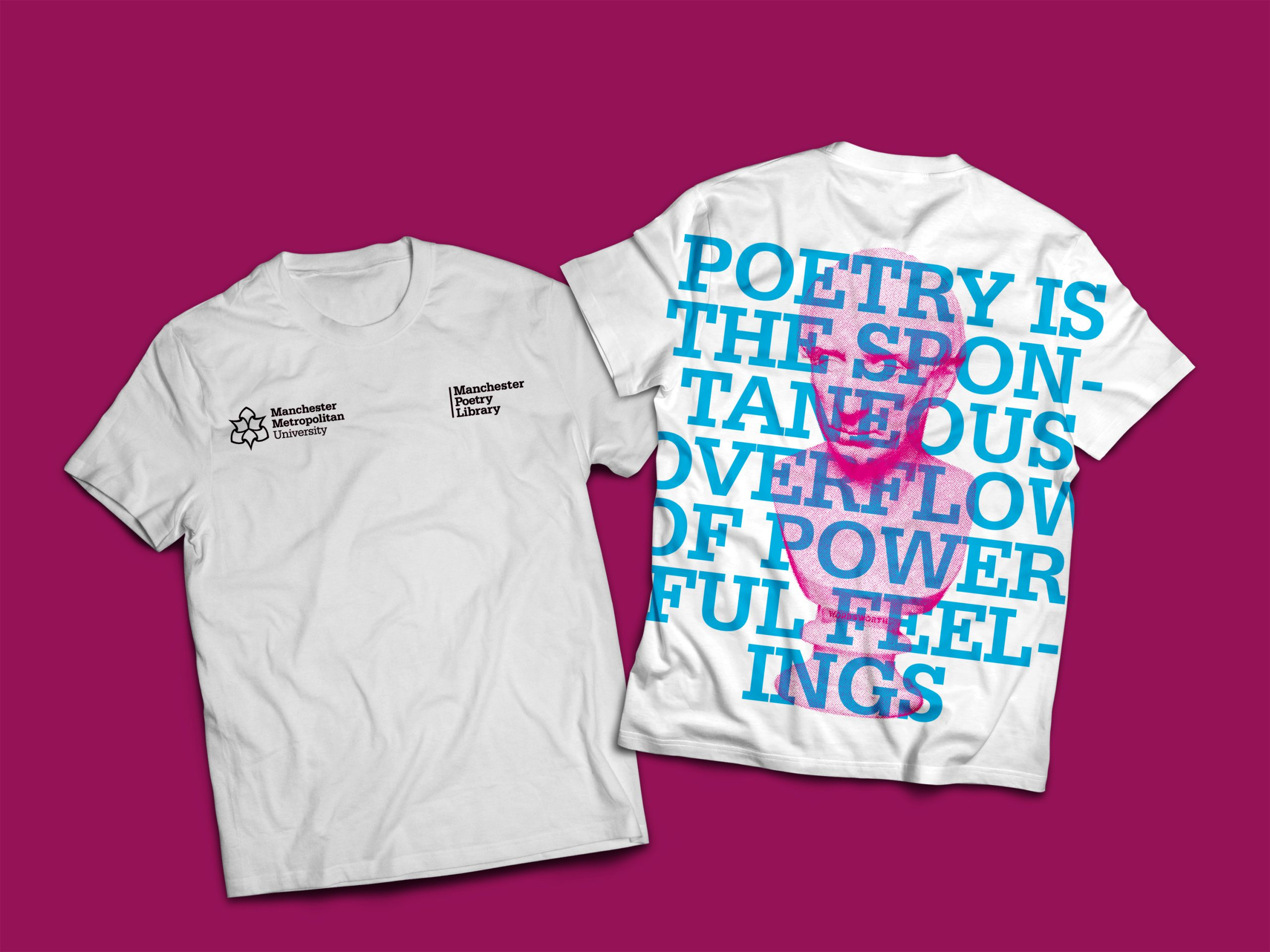 White tshirt front and back on pink background with print of pink bust of wordsworth and the words 'poetry is the spontaneous overflow of powerful feelings'