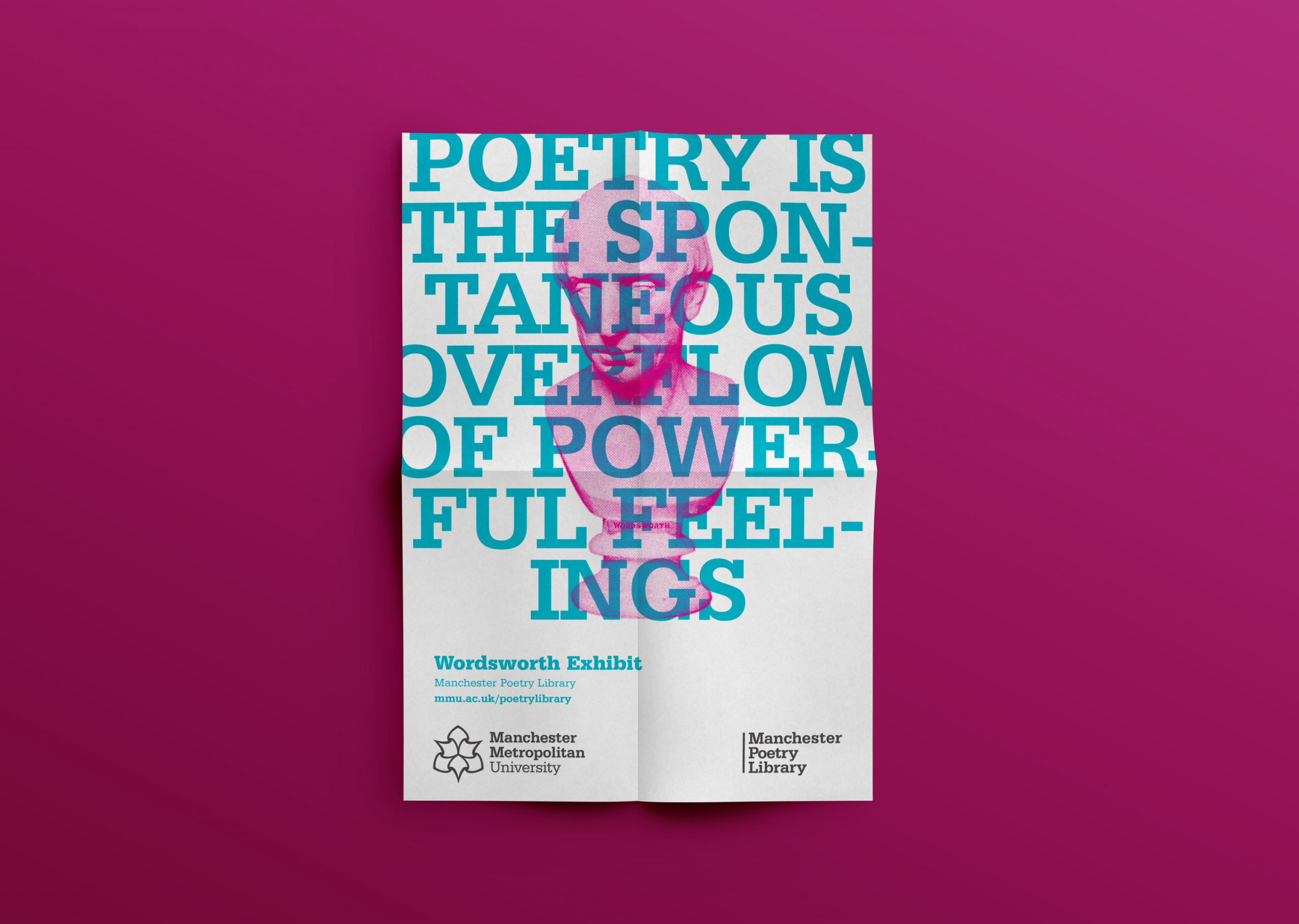 poster with print of pink bust of wordsworth and the words 'poetry is the spontaneous overflow of powerful feelings'