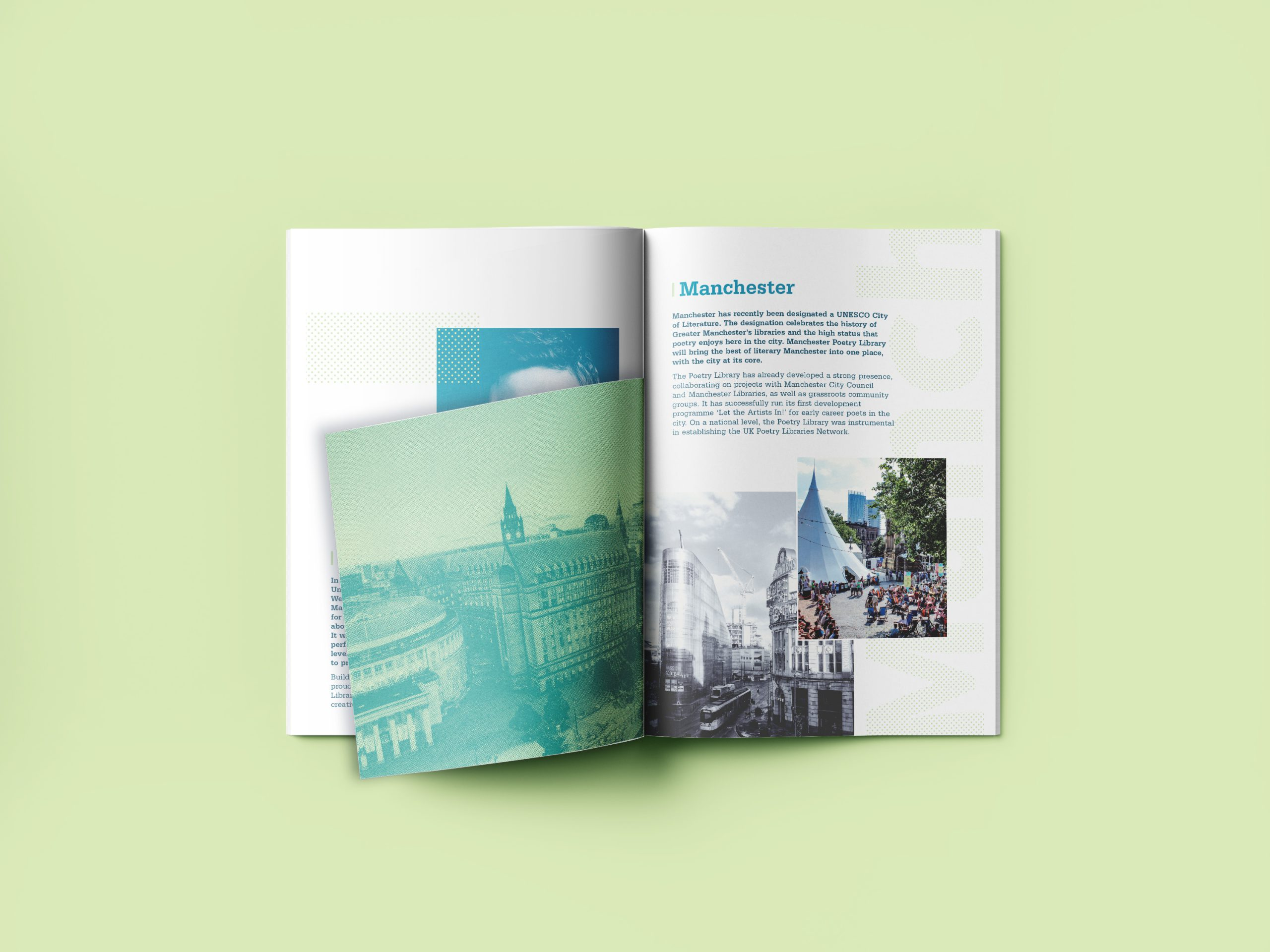 inside of brochure with different sized pages on light green background