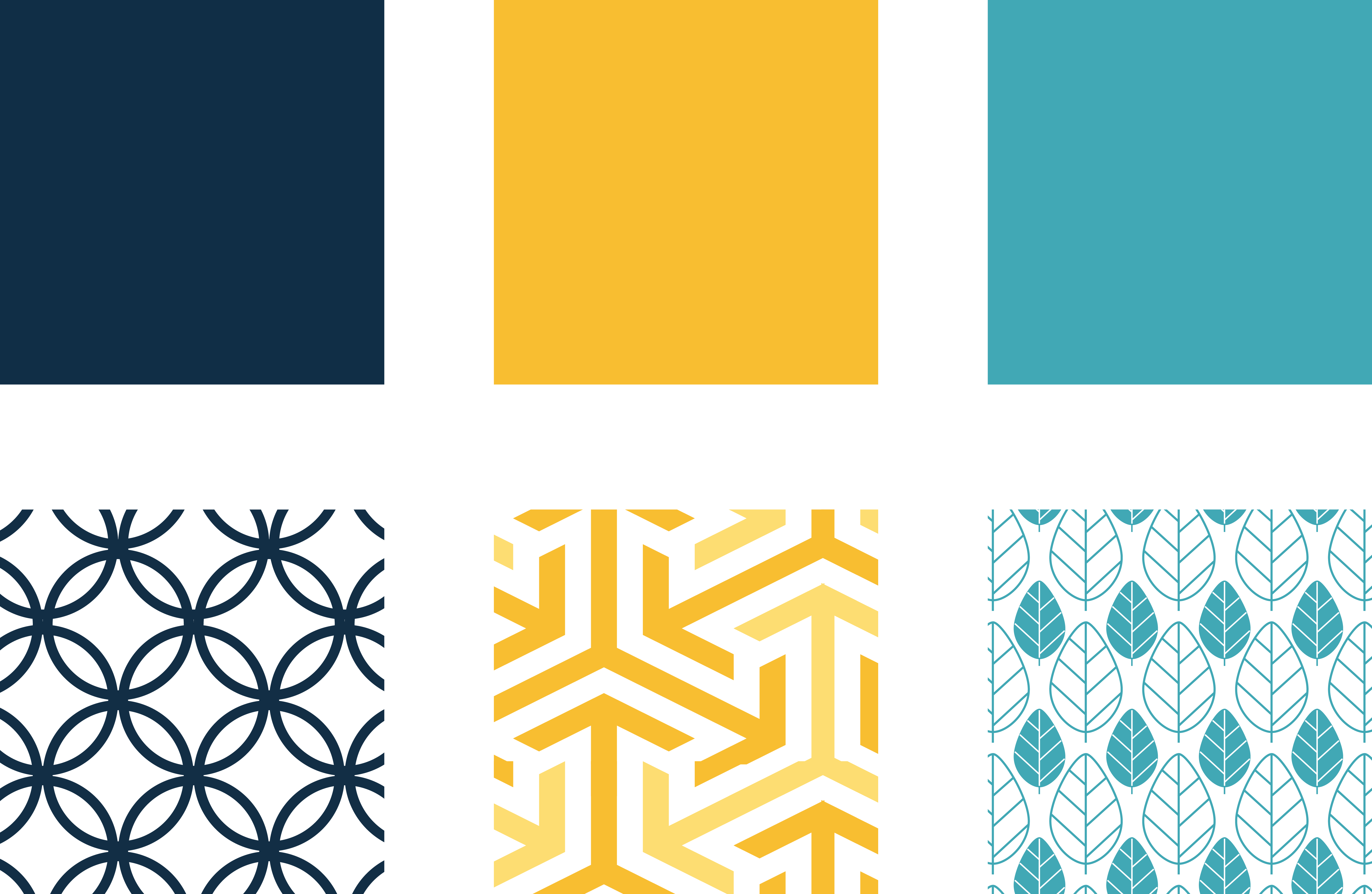Swatches with navy, yellow and light blue and also contemporary geometric patterns in the same colours