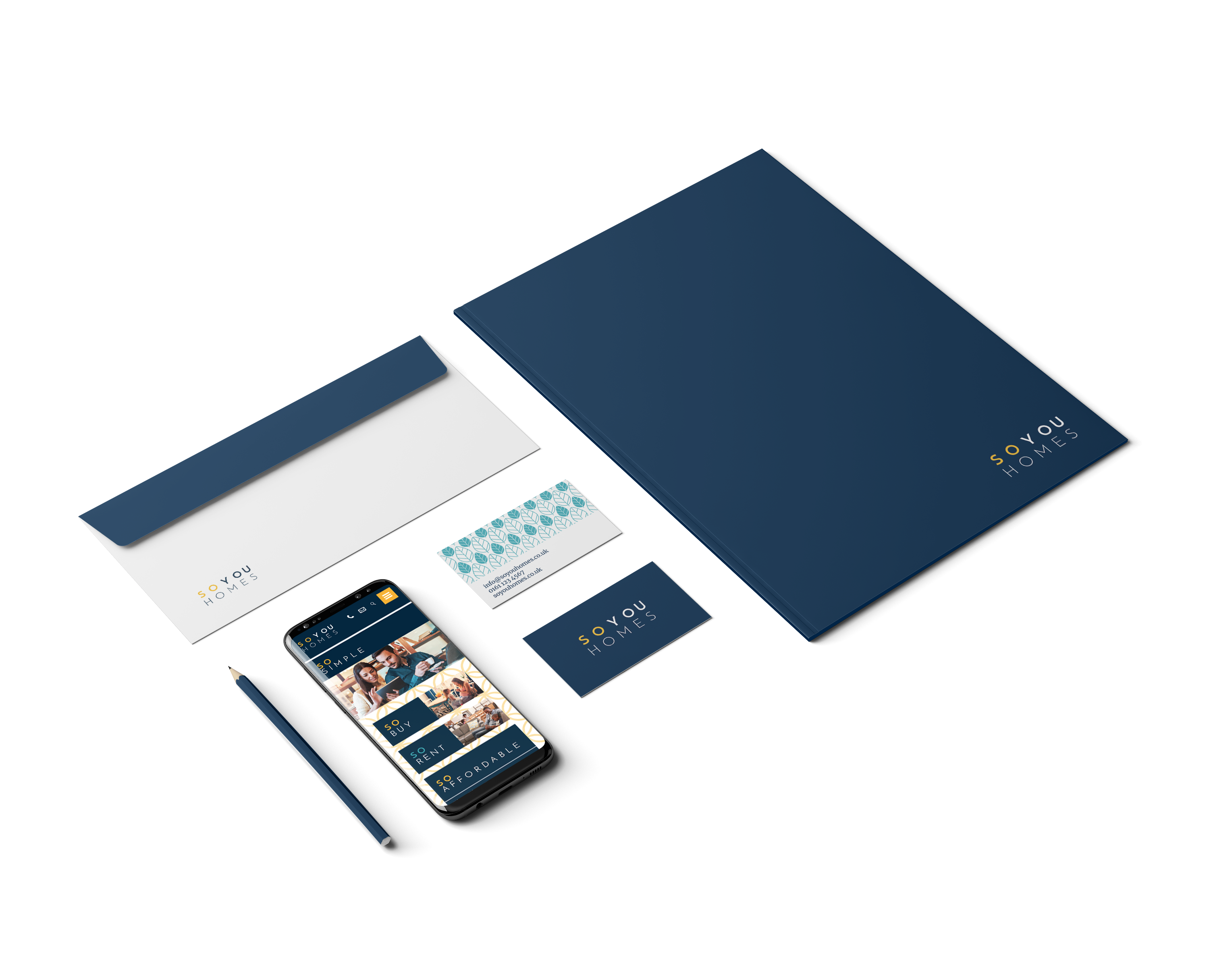 Set of stationery including business cards, folder and envelope for So You Homes branding