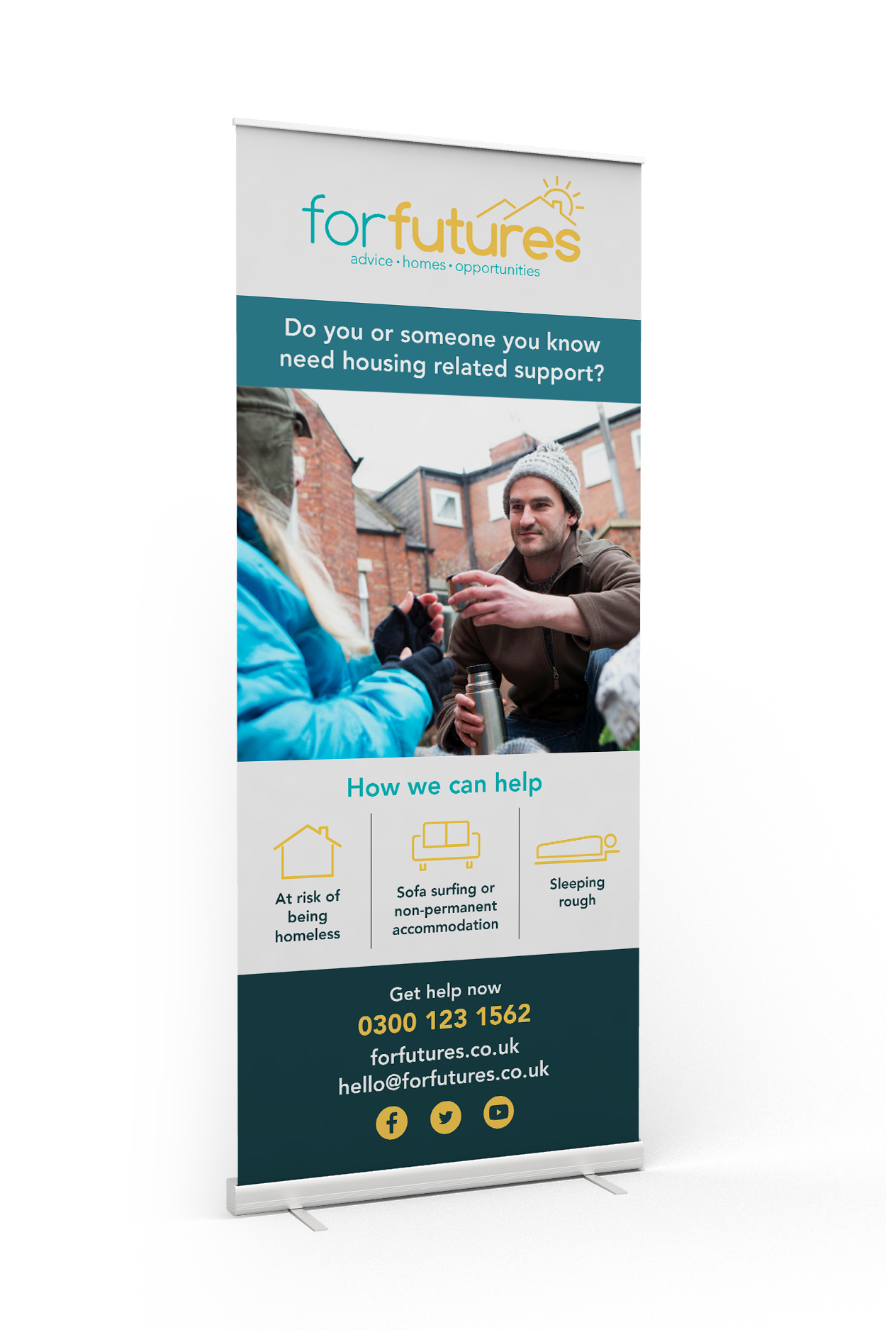 forfutures branded roll up banner showing man helping homeless person and offering help