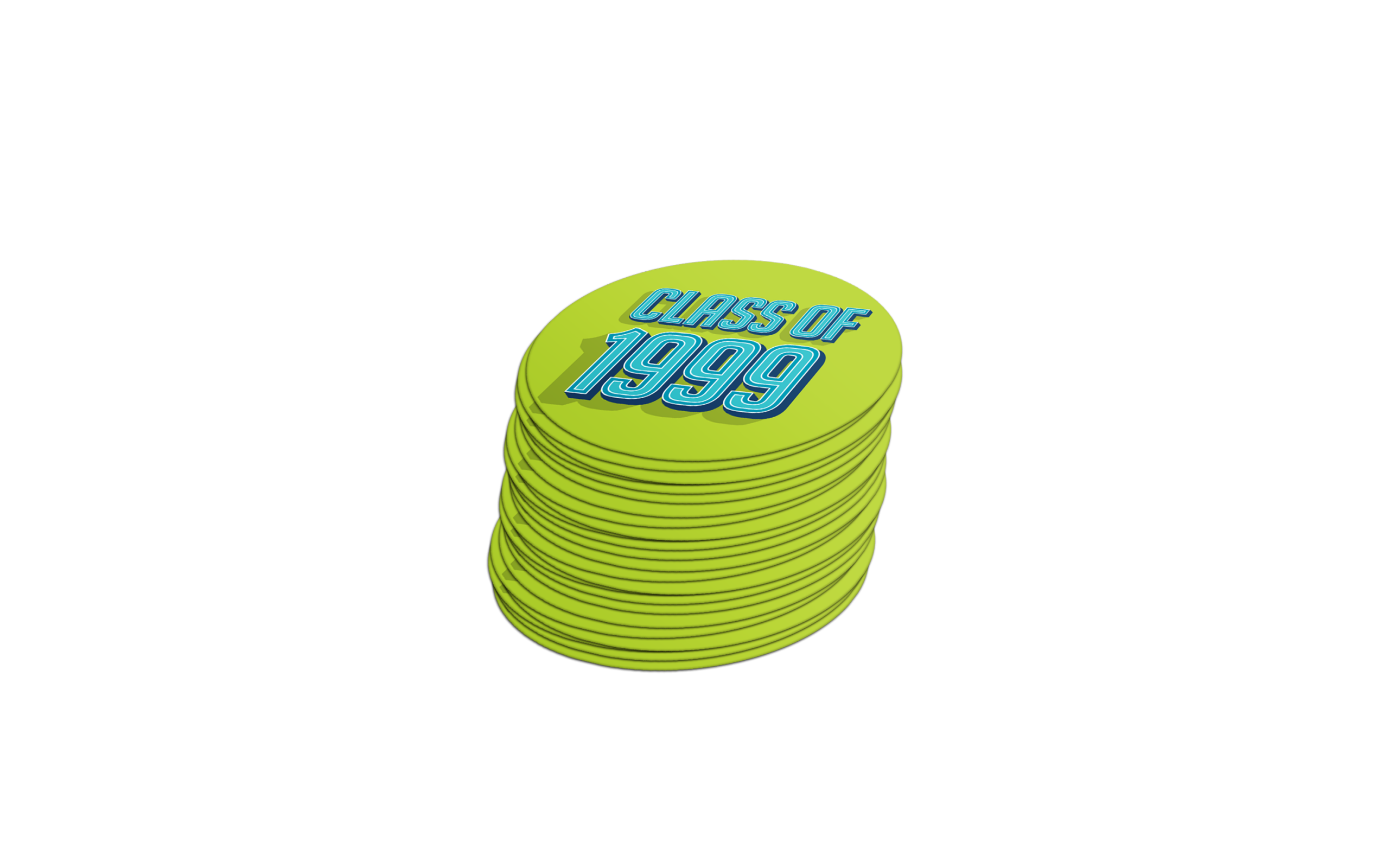 Stack of green stickers with 'Class of 1999' printed on