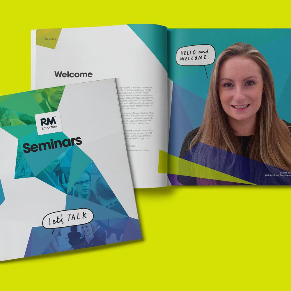 RM Seminars event brightly coloured event brochure