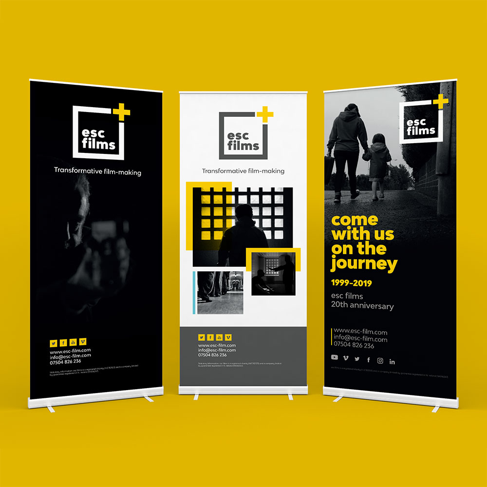 Three roll up banners on yellow background, advertising events for esc films