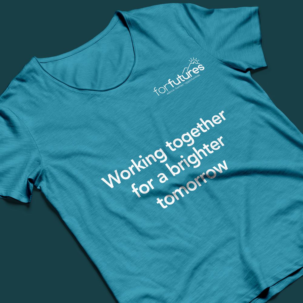 blue tshirt with forfutures charity branding on it and words 'working together for a brighter tomorrow'