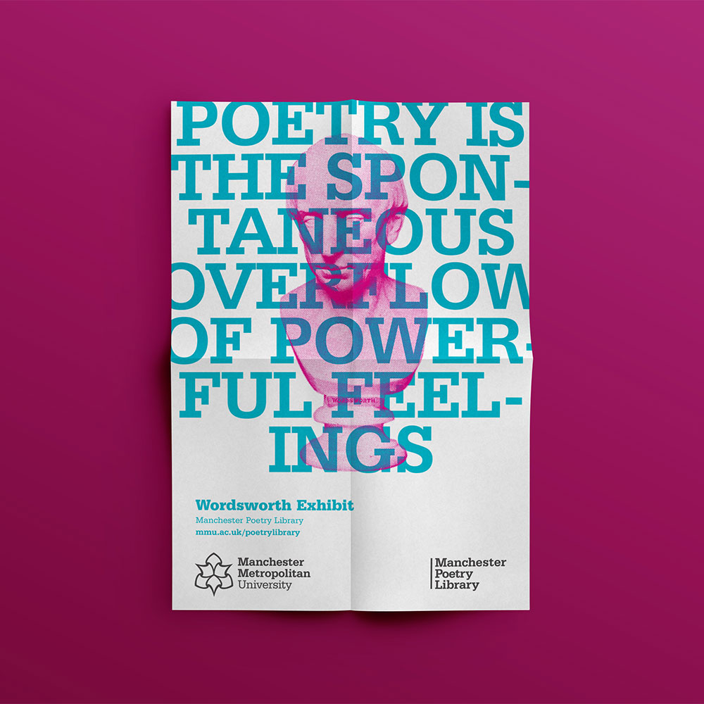 White poster with pink bust of Wordsworth covered with blue text reading 'Poetry is the spontaneous overflow of powerful feelings'